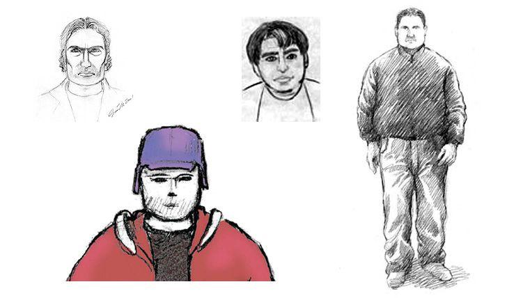 ETTERLYST: Har politiet nok folk til å fakke dem? Noen fantomtegninger basert på etterlysninger av voldtektsmenn i Norge de senere år.