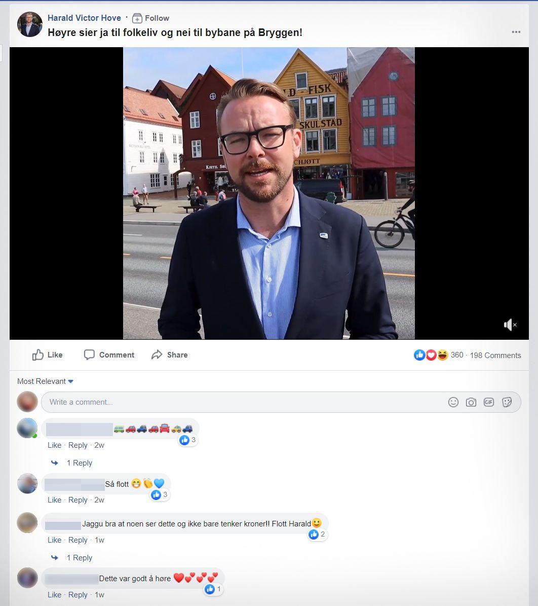 RYDDET BORT: Høyre har skjult kritiske kommentarer under denne videoen fra partiets kandidat til jobben som byrådsleder i Bergen, Harald Victor Hove. Faksimile fra Facebook