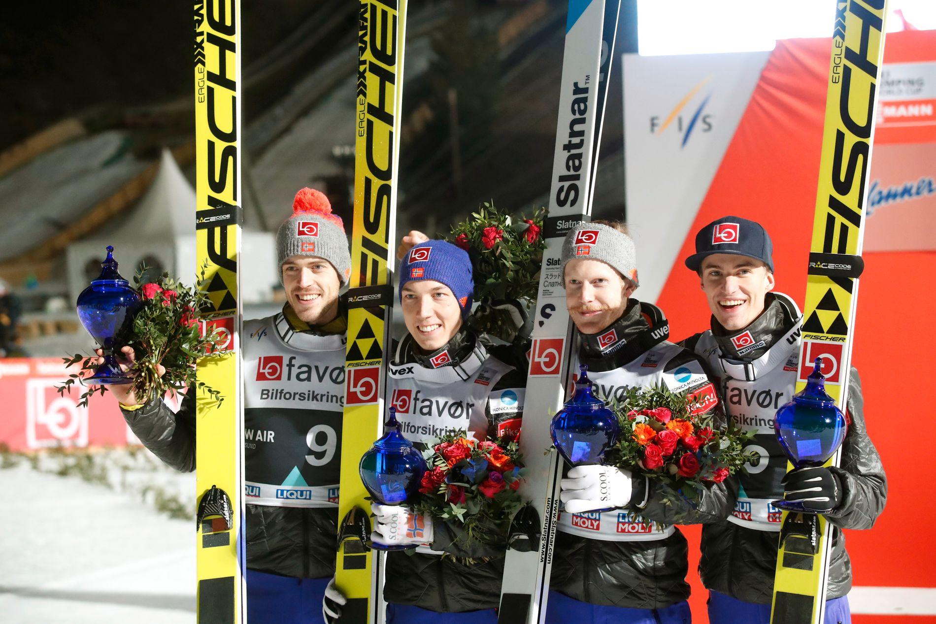 VINNER DE IGJEN: Her er Andreas Stjernen (til venstre), Johann Forfang, Robert Johansson og Daniel-André Tande etter seieren i Vikersund.