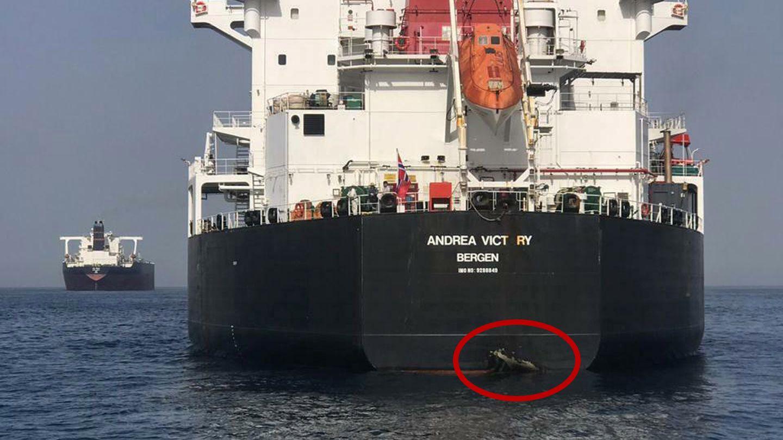 SKADET: Det norske tankskipet «Andrea Victory» ble påført skader i akterenden under en sabotasjeaksjon utenfor kysten av Emiratene.