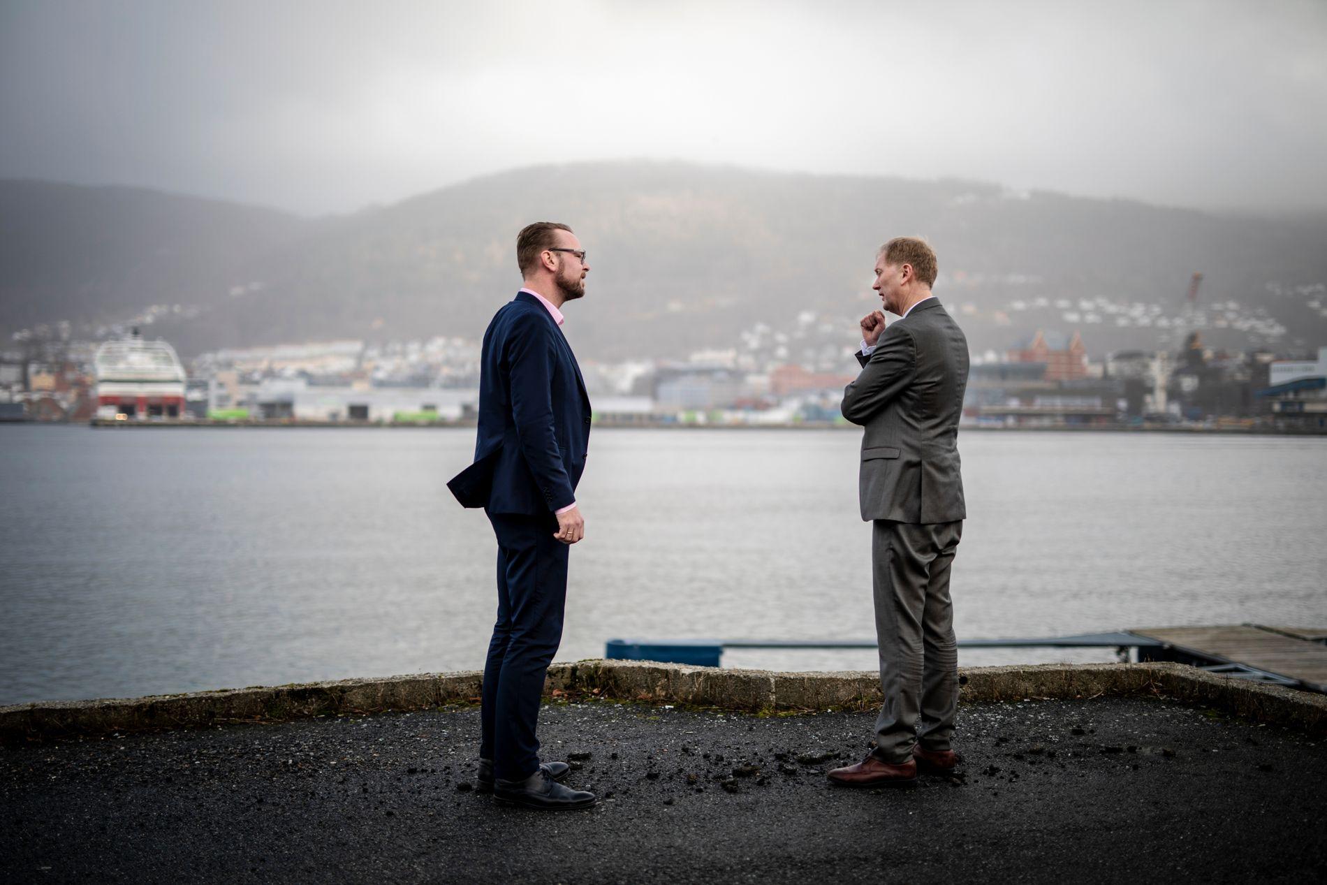 KANSKJE HIT: Byrådsleder Harald Schjelderup (Ap) og Høyres toppkandidat Harald Victor Hove ønsker å få realisert Kjell Inge Røkkes «verdenshavenes hus» i Bergen. Dokken er antakelig den mest aktuelle beliggenheten, om det skulle skje.