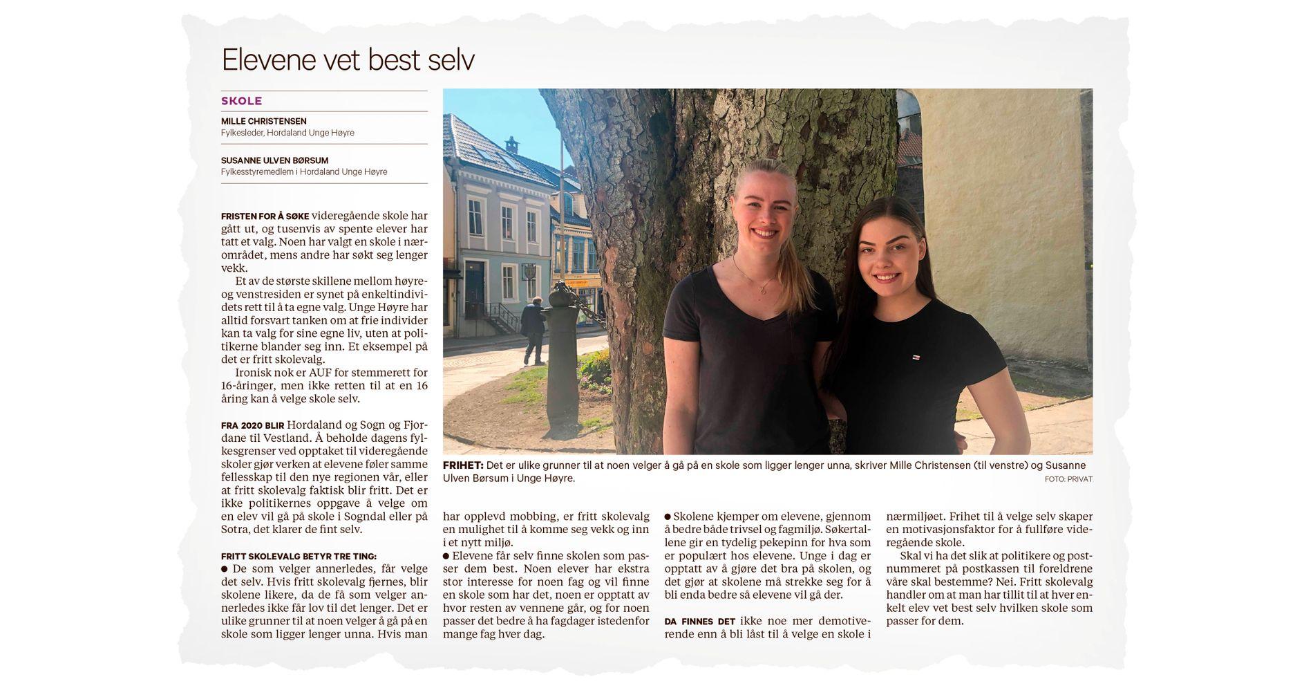 STARTET DEBATTEN: Mille Christensen og Susanne Ulven Børsum (Unge Høyre) skrev om hvorfor de mener Vestland bør beholde ordningen med fritt skolevalg. I innlegget under får de svar fra lærer Daniel Bolstad-Hageland. Faksimile, BT lørdag 18. mai