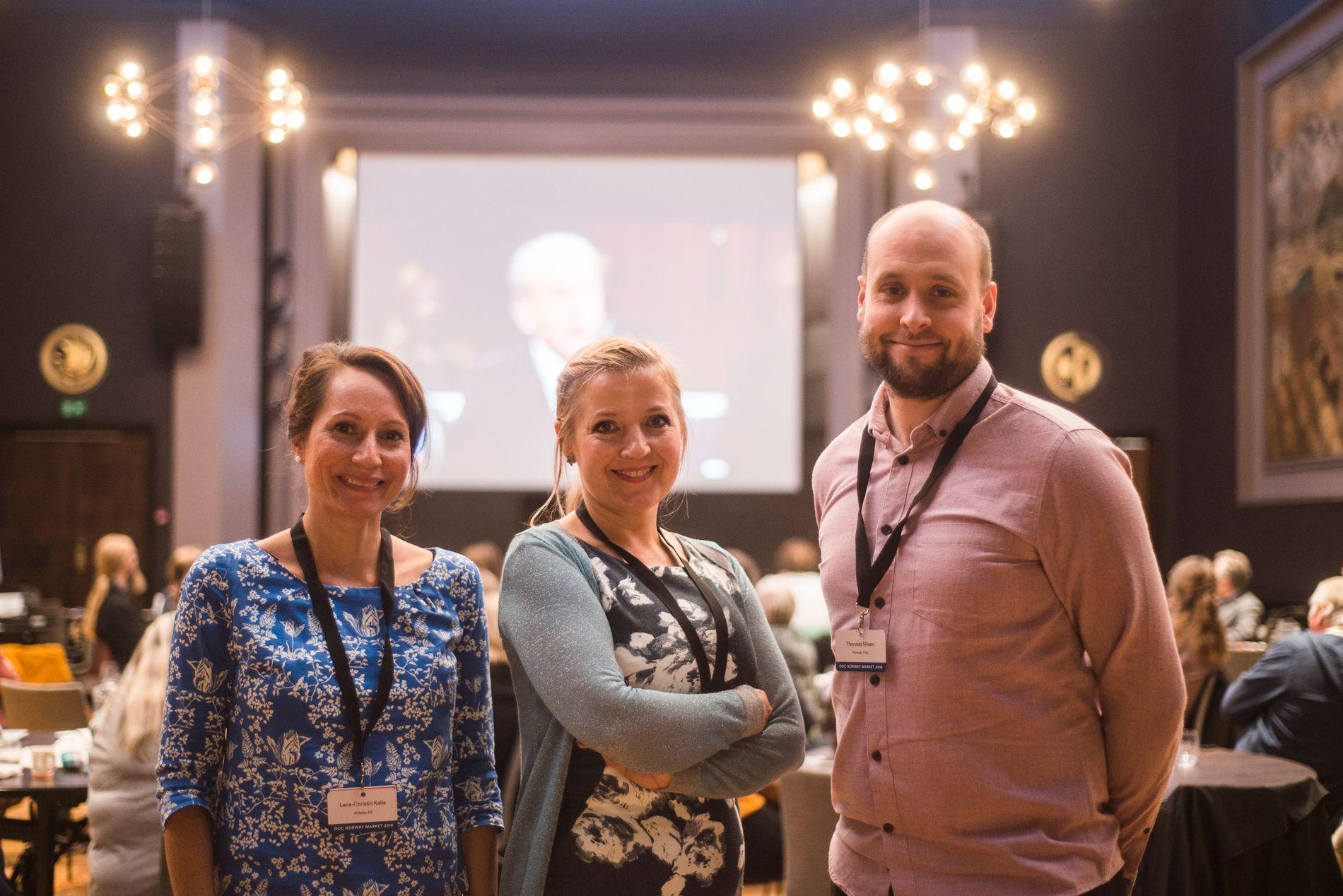 FILM: (Fra venstre) Lena-Christin Kalle, Elisabeth Kleppe og Thorvald Nilsen møtte Netflix, HBO og andre amerikanske selskaper i Bergen.