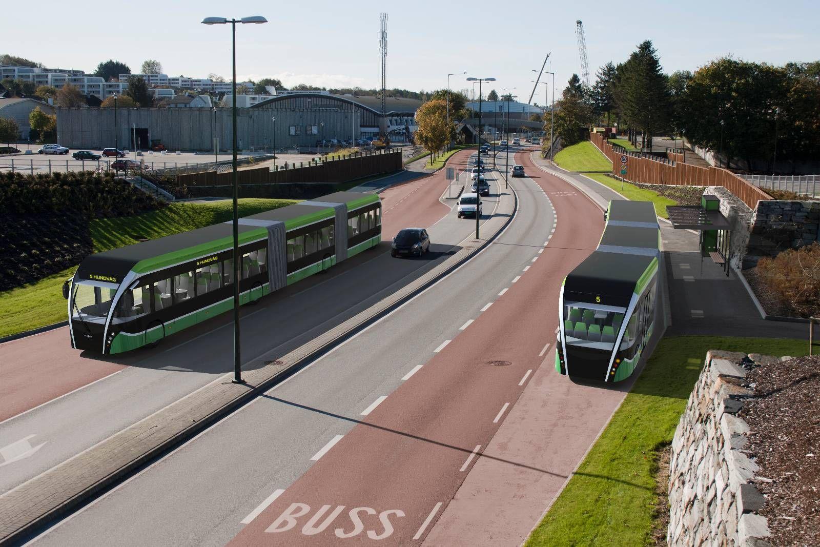RIMELIGERE: Stavanger-området er godt i gang med å bygge ut sitt nye bussnett. Prisen pr. meter er omtrent en fjerdedel av kostnadene til Bybanen i Bergen. Illustrasjon: Visco/Rogaland fylkeskommune