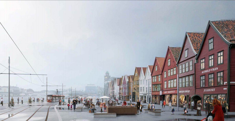 FRAMTIDA? Slik kan Bybanen over Bryggen sjå ut i framtida. Spørsmålet er berre om det blir nok ein omkamp om trasèen. Forslaget du ser her heiter «Mot Vågen» og vann designkonkurransen om å utforme Vågen.