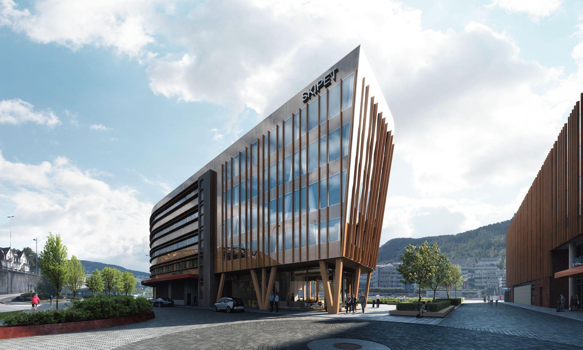 ETTER: Næringsbygget «Skipet» vil bli en interessant nyvinning. Huset reises med massivtre fra Åmot i Østerdalen, inkludert heissjakter og etasjeskillere. ILLUSTRASJON: Arkitekt Paal J. Kahrs, OG arkitekter AS og MIR AS.