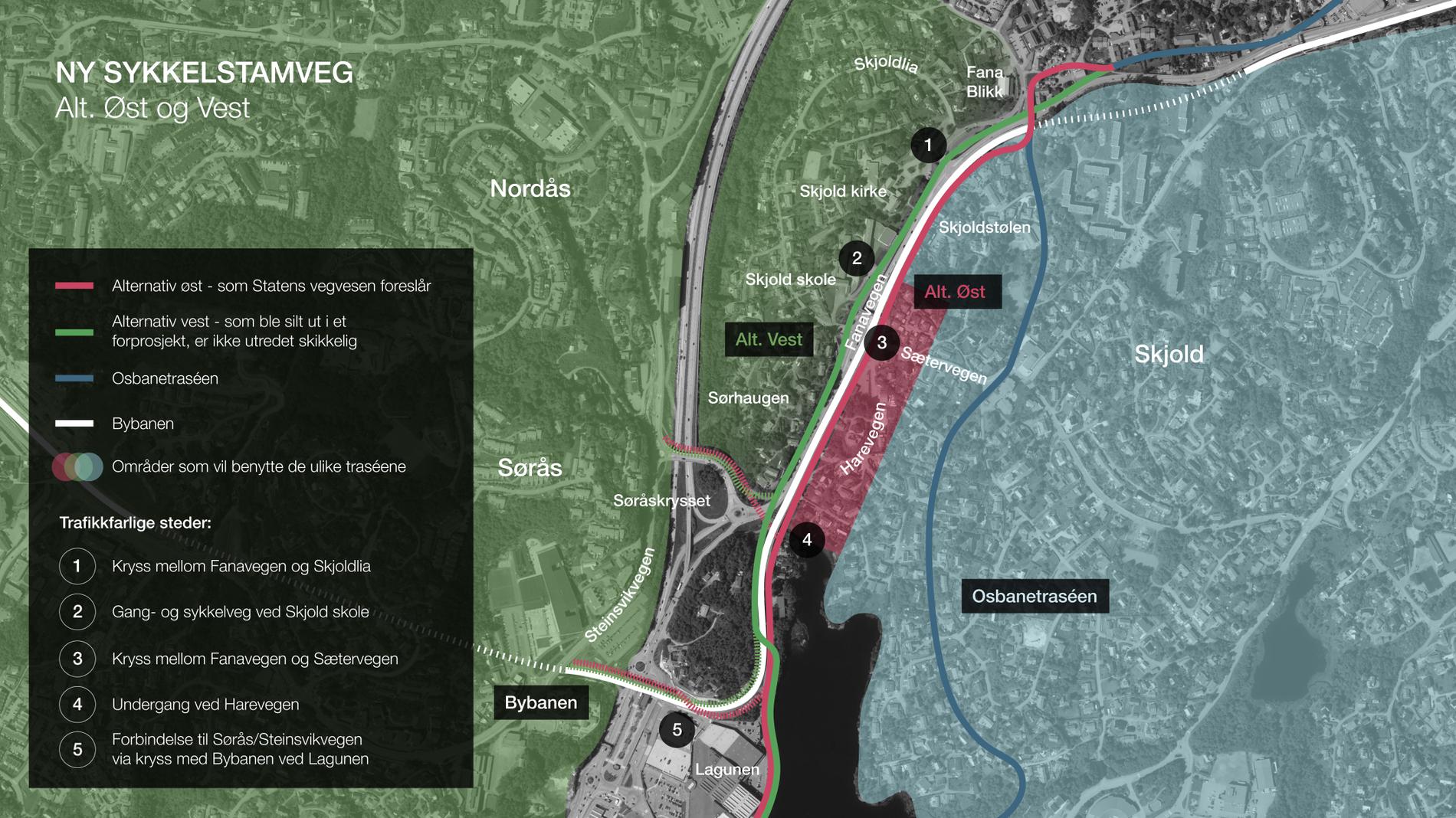 FARLIGE STEDER: Denne kartskissen viser det innsenderen mener er fem punkter på den planlagte sykkelveien der farlige situasjoner lett kan oppstå. Se bilder fra alle fem steder lenger ned på denne siden. Illustrasjon: Privat