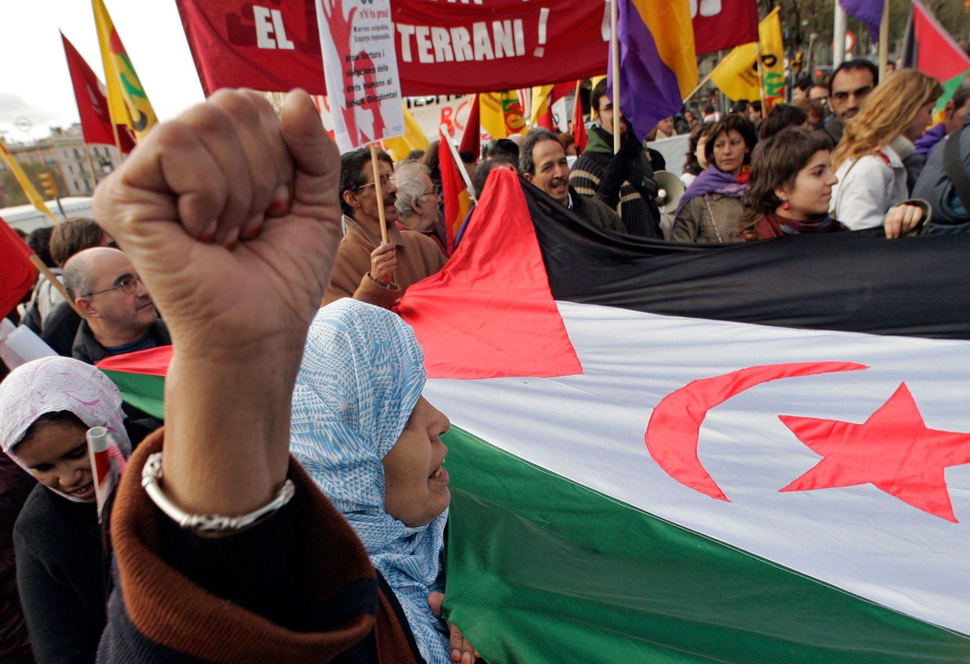 PROTEST: Demonstrantar i Spania protesterer mot Marokkos okkupasjon av Vest-Sahara. Norske reiarlag og forsikringsselskap bidreg til å oppretthalde okkupasjonen, skriv Morten Myksvoll.