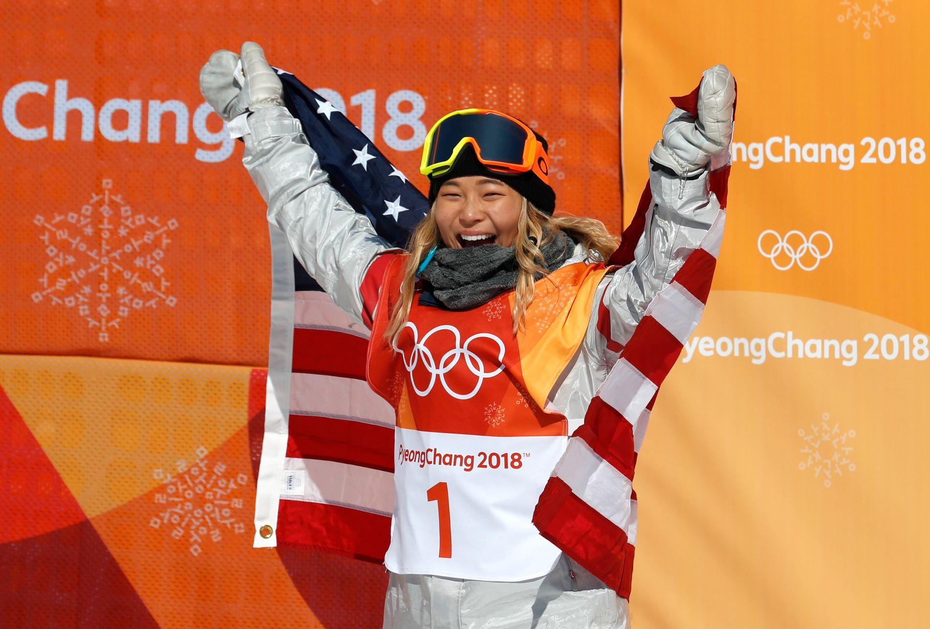 Chloe Kim jubler etter å ha tatt et overlegent gull i halfpipe.