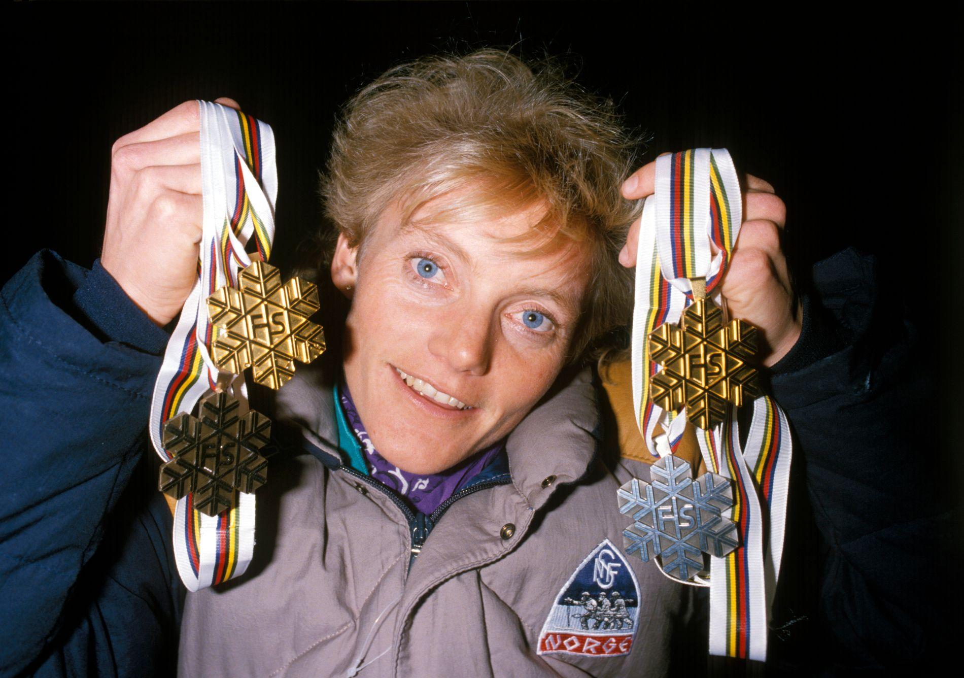Anette Bøe vant to gull, én sølv og én bronse i Seefeld i 1985.