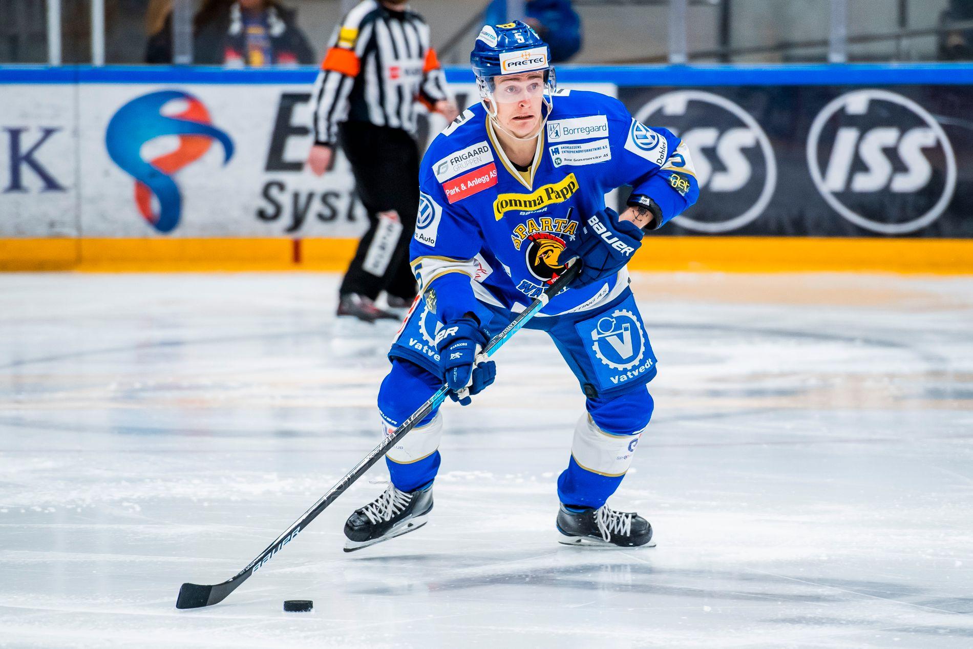 Her er Andreas Klavestad i aksjon for Sparta mot Oilers i januar.