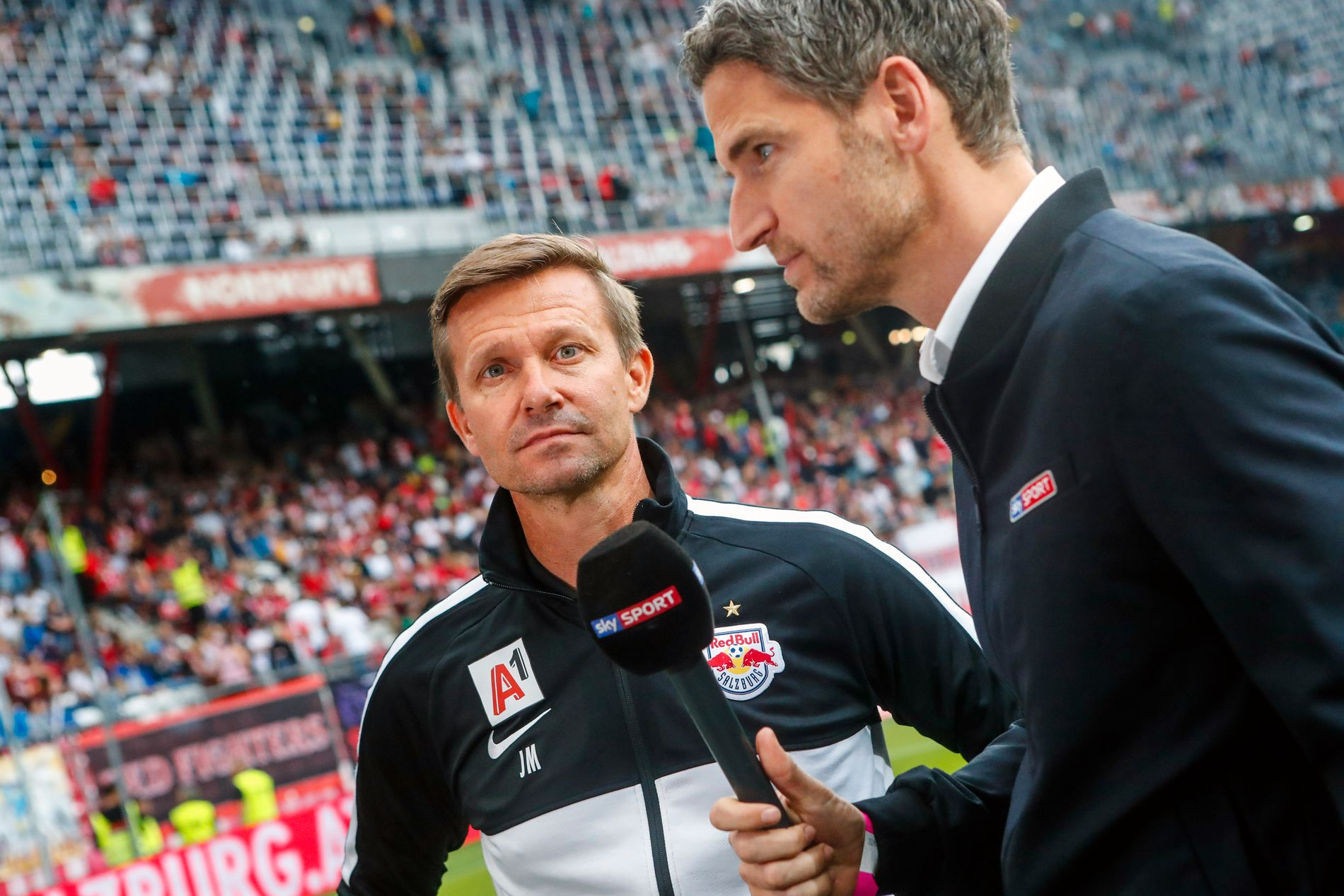 Salzburg-trener Jesse Marsch er imponert over holdningene til tidligere Molde-spiller, Erling Braut Haaland. Her avbildet før treningskampen mot Real Madrid onsdag.