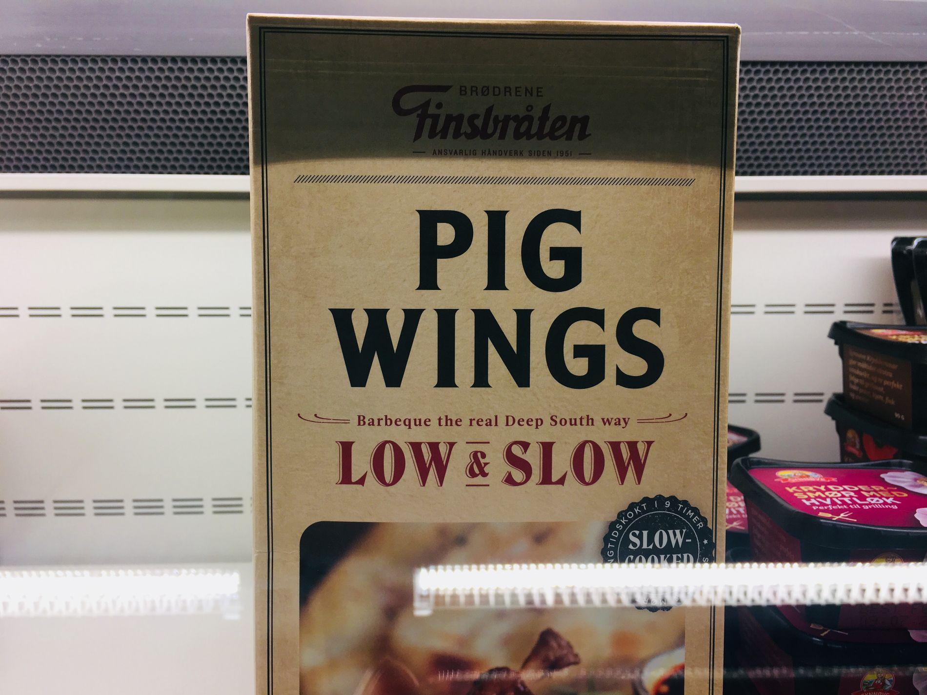 PIG WINGS: Finsbråten og Jacobs utvalgte er to norske produsenter som markedsfører grisevinger i butikkene.