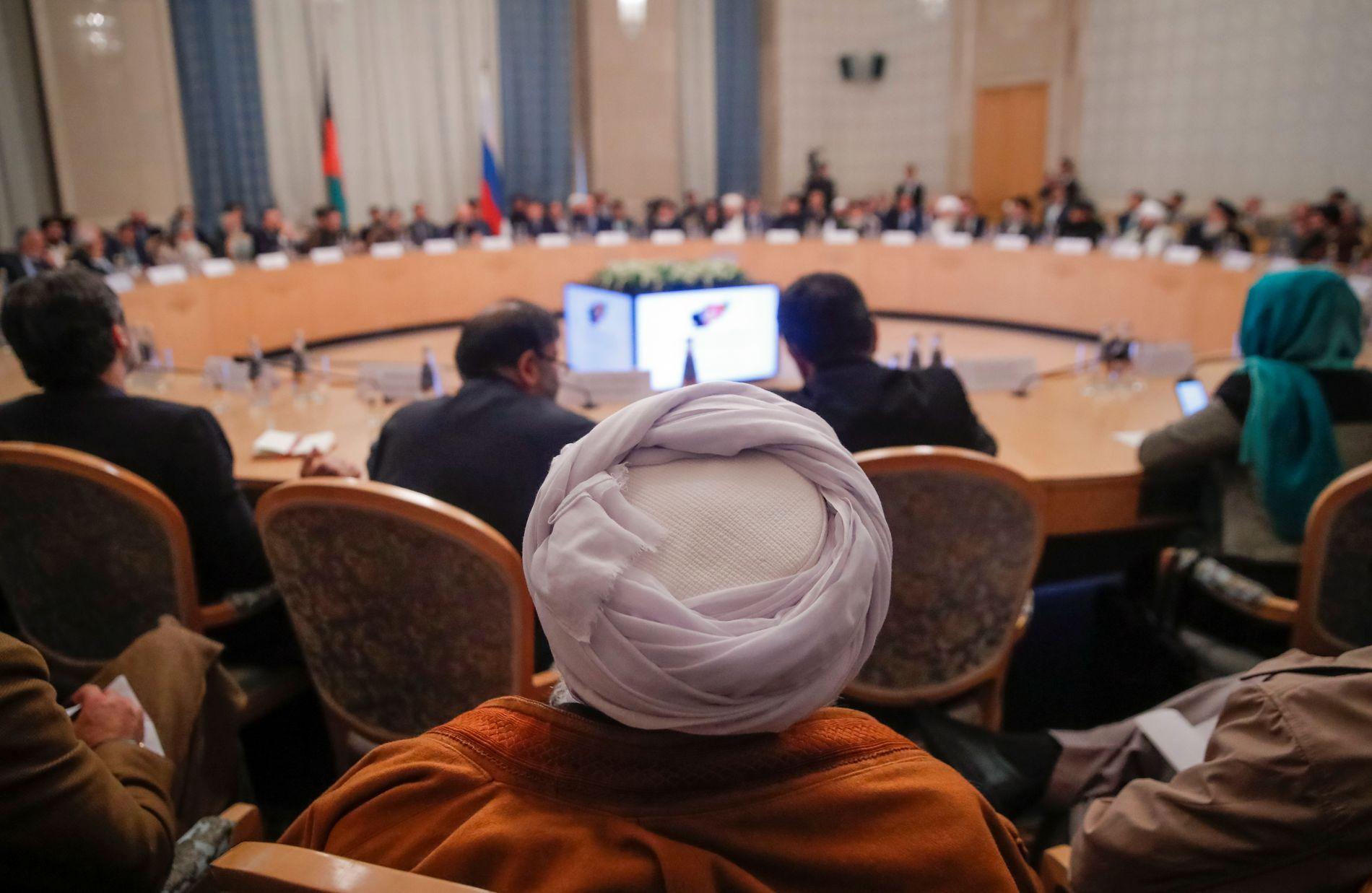 MOSKVA-MØTE: Taliban var hjertelig tilstede under et møte i Moskva før helgen. Regjeringen i Kabul var ikke invitert.