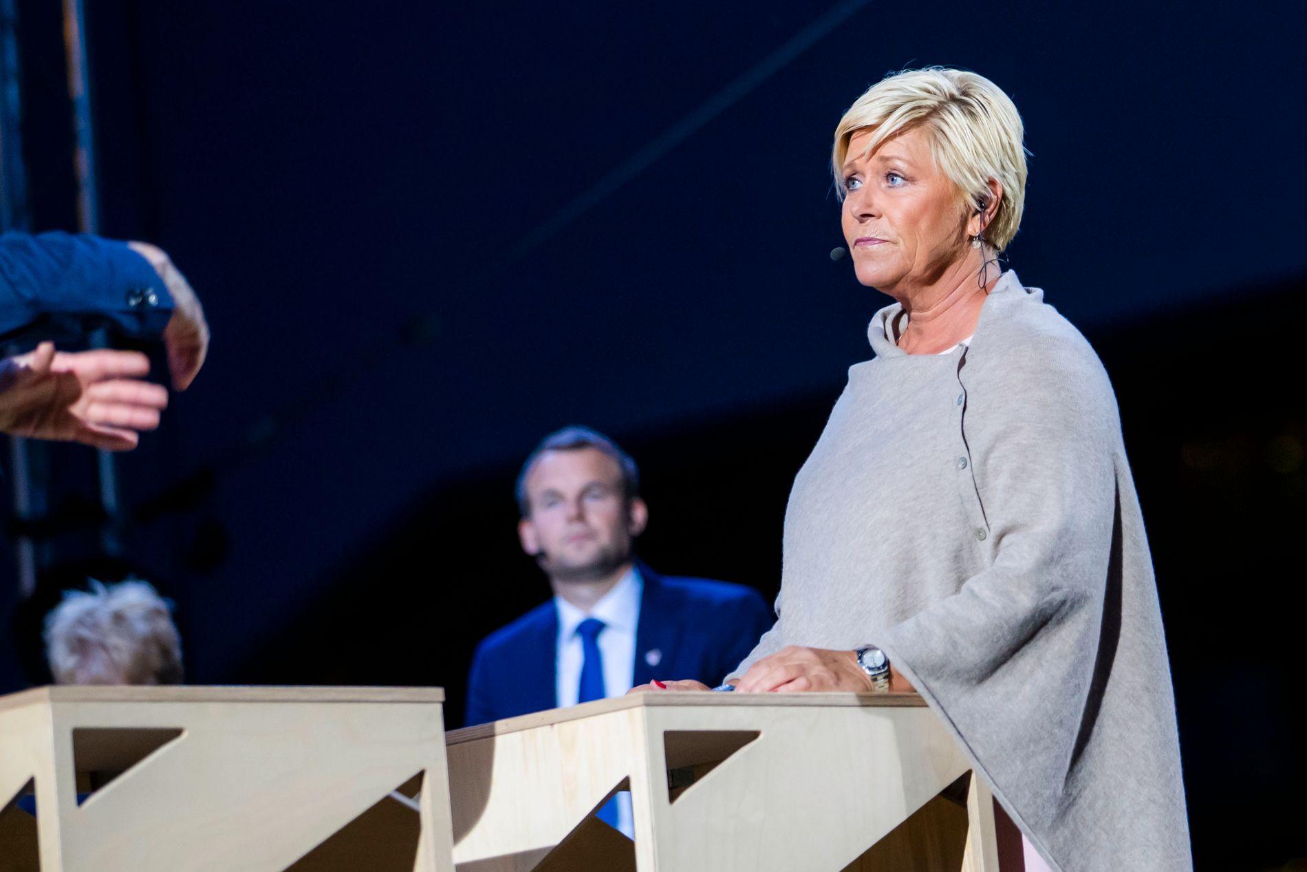 DEBATT: Leder i Fremskrittspartiet (Frp) Siv Jensen under den NRK-sendte partilederdebatten under Arendalsuka mandag kveld.