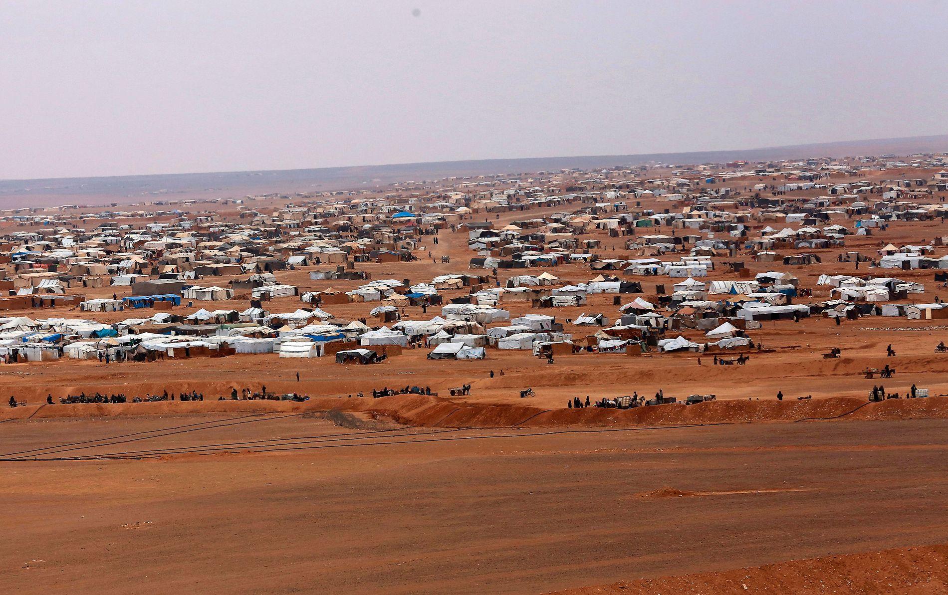 RUKBAN: Leiren ligger sørøst i Syria, på grensen mot Jordan og Irak.