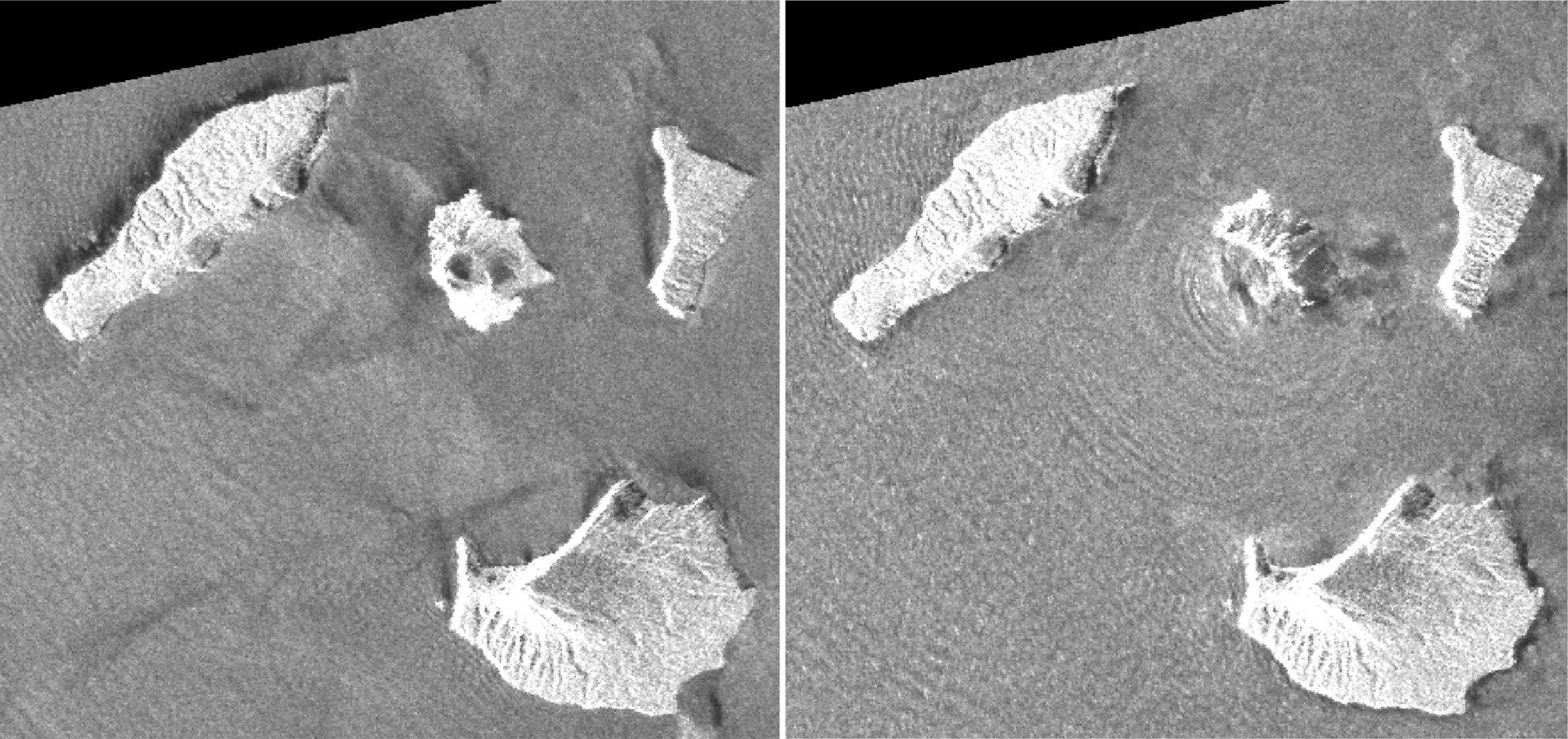 Radarbilder fra JAXAs ALOS-2-satellitt kombinert med analyse fra Geospatial Information Authority fra Japan viser vulkanen Anak Krakatoa før og etter utbruddet 22. desember. Den sørvestre delen av vulkanen kollapset, raste ned i havet og forårsaket en tsunami. Bildet til venstre er fra 20. august, bildet til høyre er fra 24. desember. Foto: Geospatial Information Authority of Japan via AP / NTB scanpix
