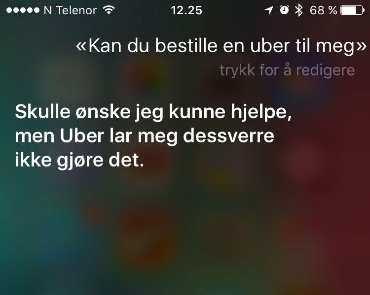 SMARTERE: Siri skal ha blitt smartere og har nå fått støtte for bruk i tredjepartsapper. Da vi testet på lanseringsdagen var imidlertid ikke Uber-støtten på plass. Foto: Skjermdump
