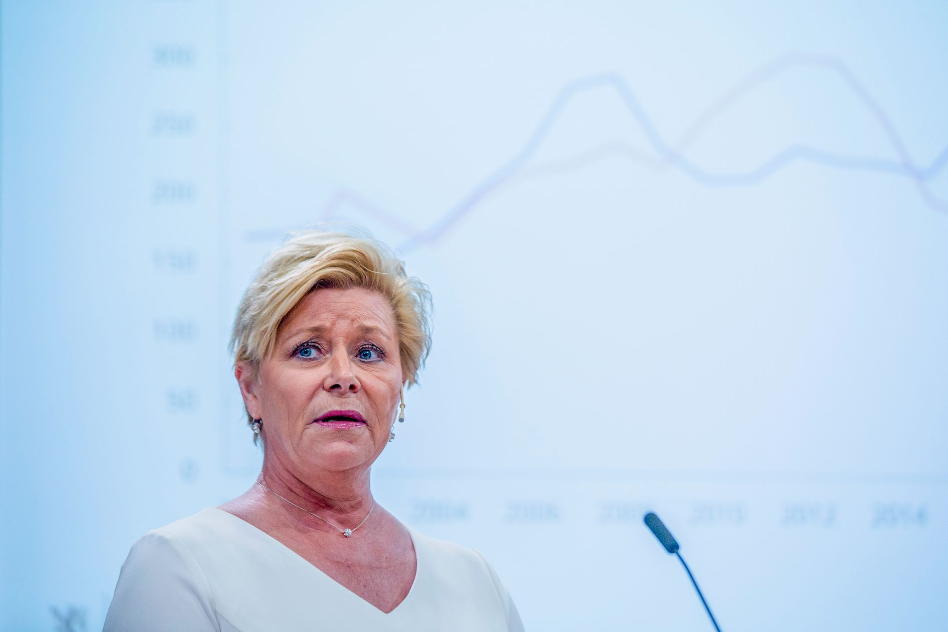 Finansminister Siv Jensen på pressekonferansen om revidert nasjonalbudsjett 2019. Foto: Stian Lysberg Solum / NTB scanpix