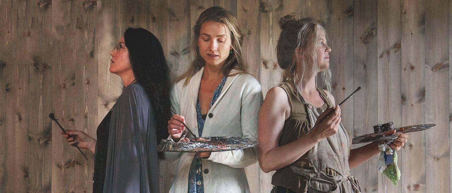 KUNSTNERE: Det er kvinnene Cathrine Bergsrud, Helene Knoop og Turid Spildo, som står bak utstillingen.