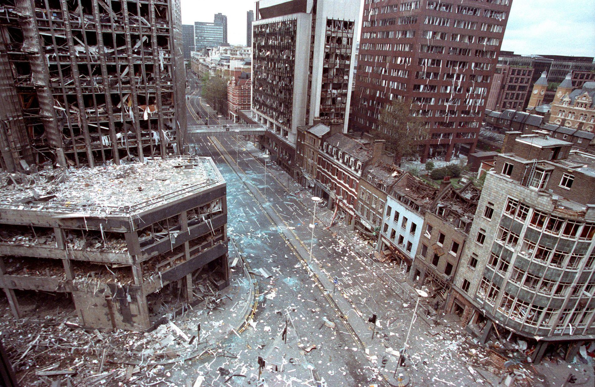 TERROR: Den nordiske terrorgruppa IRA stod bak ei rekkje åtak i Storbritannia, som her i London i 1993.
