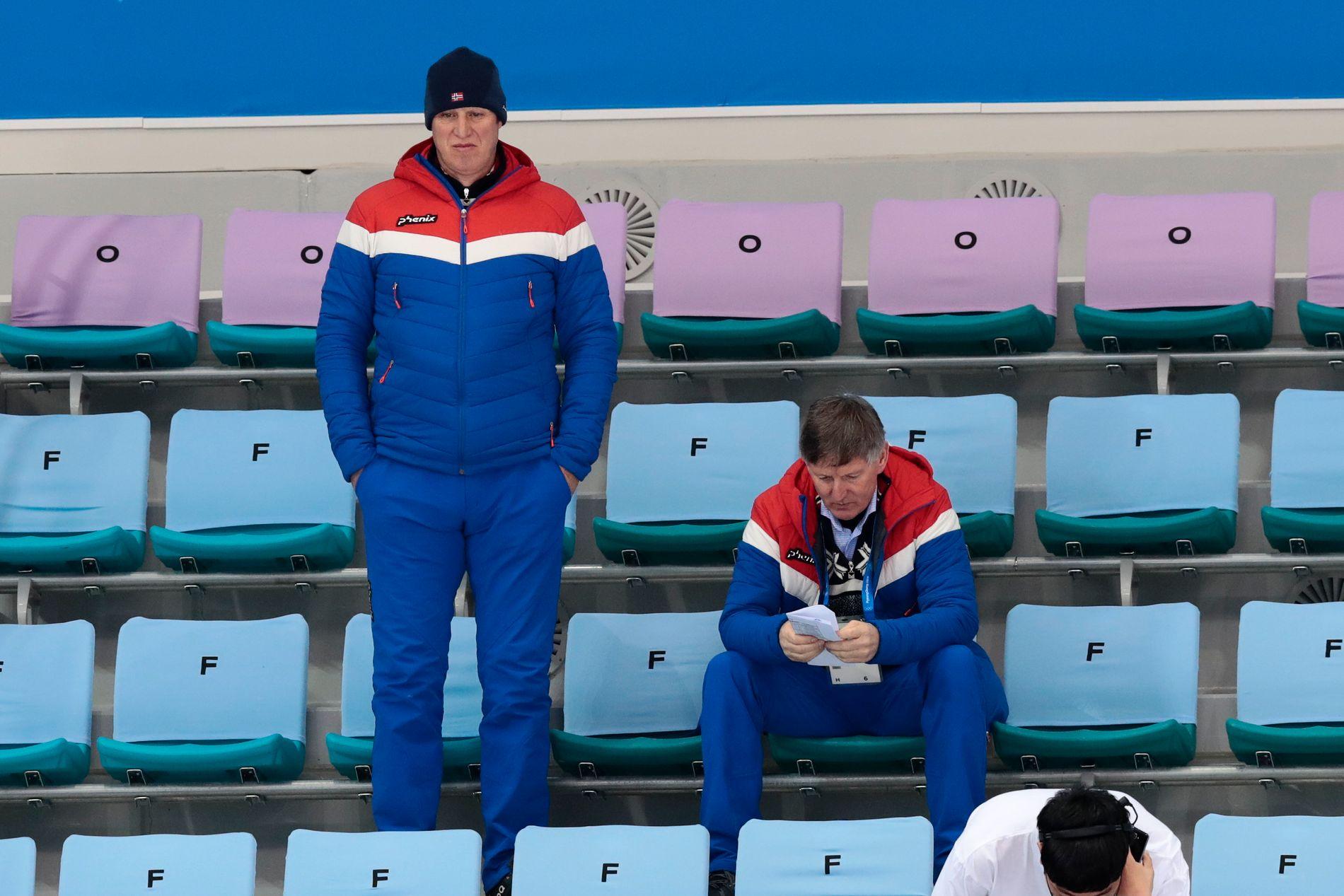 IS I RUBBEN: Idrettspresident Tom Tvedt vil at Idrettstinget skal seie ja til ein ny OL-søknad neste vår. Her ser han ishockeykampen Noreg-Slovenia under  Pyeongchang -OL i vinter.