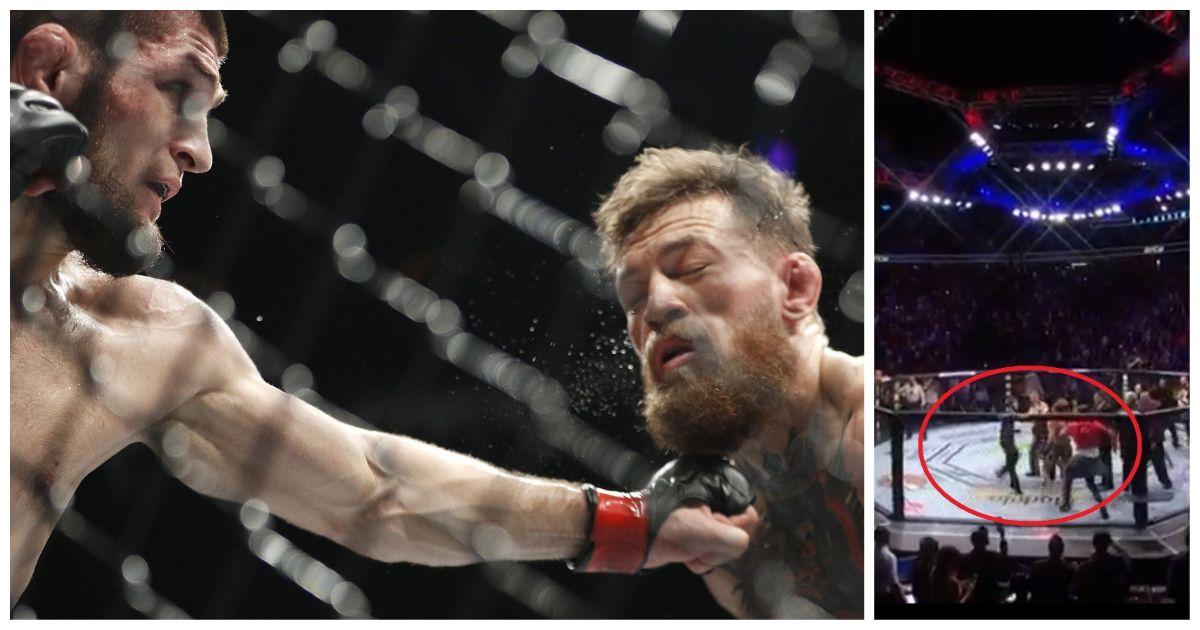 Det gikk hardt for seg mellom Khabib Nurmagomedov og Conor McGregor. Etterpå ble sistnevnte angrepet av to fra russerens team (bilde høyre).