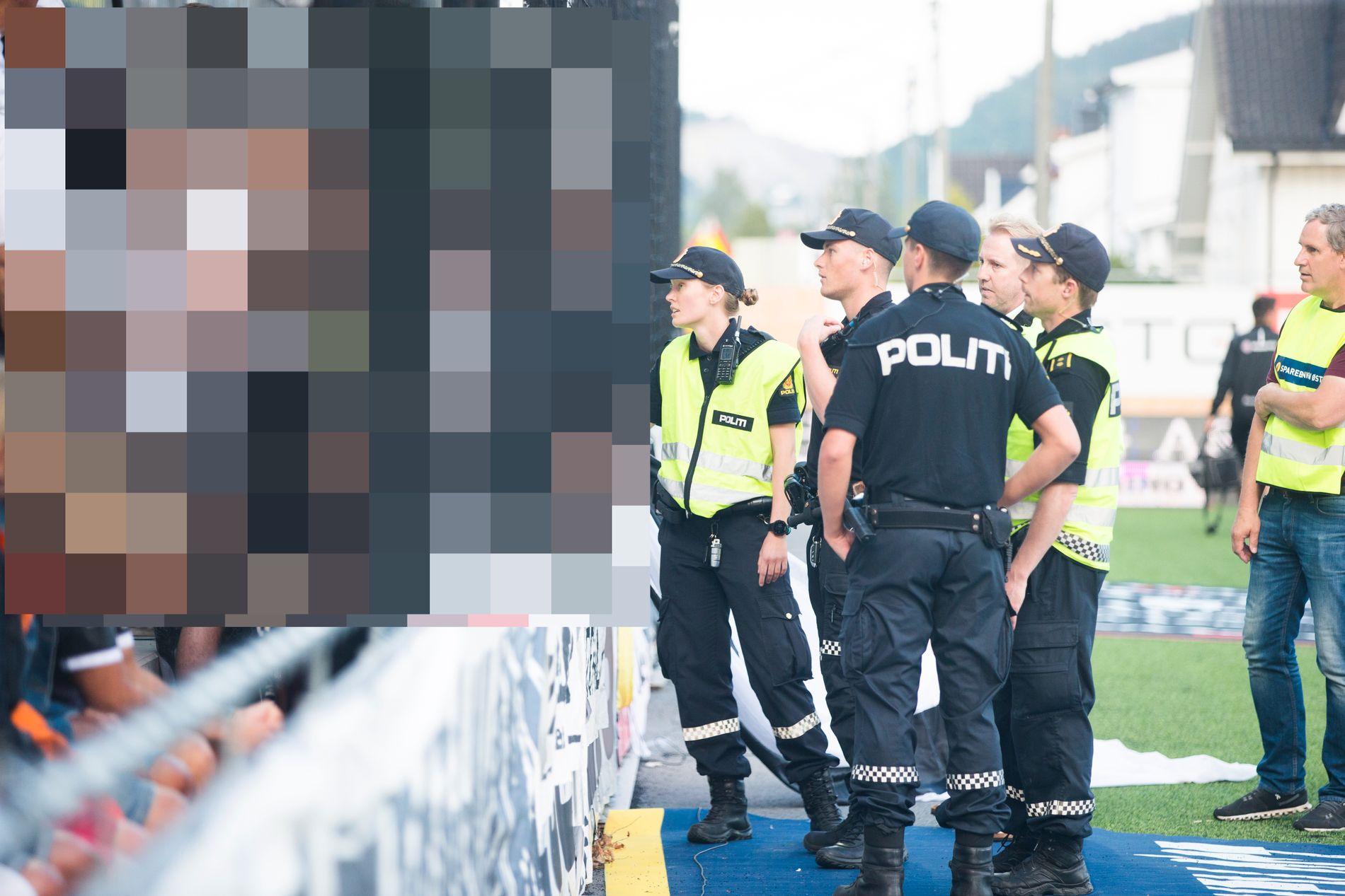 Politiet oppsøker bortefeltet under kampen.