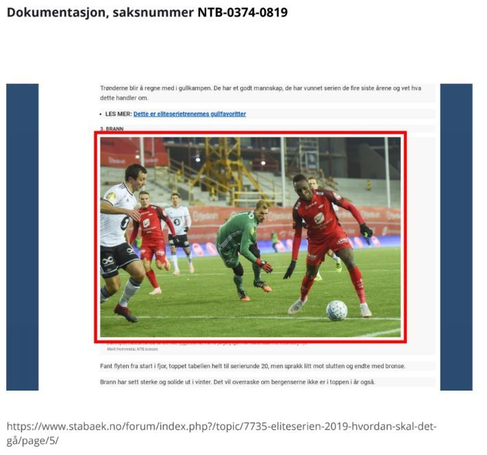Dette er et av bildene Stabæks supporterklubb har fått krav for å ha brukt ulovlig. Dette er skjermdump fra en av e-postene de har fått fra NTB scanpix.