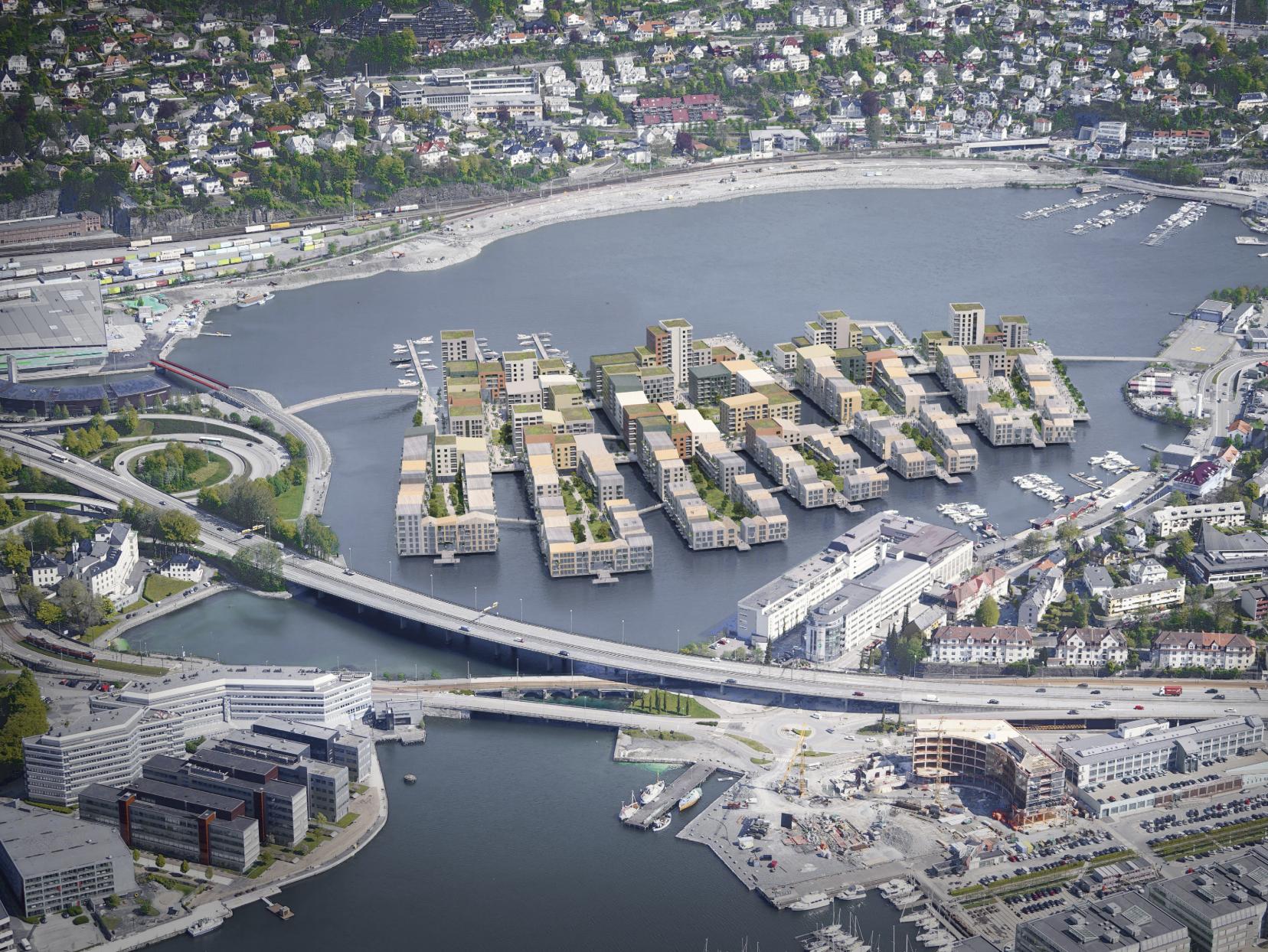 ØNSKER KANALBY: BOB vil knytte Møllendal og Ado-siden sammen med det nye boligprosjektet. ILLUSTRASJON: WAUGH THISTLETON ARCHITECTS