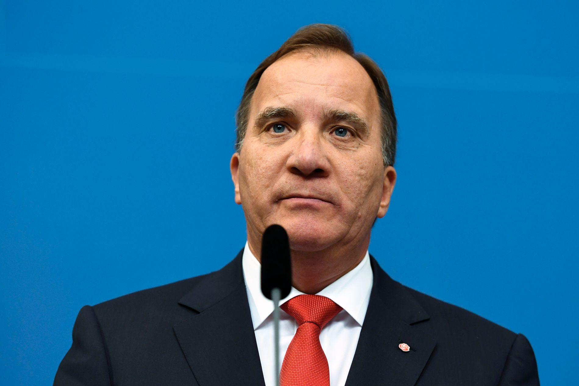 BLIR SITTENDE: Stefan Löfven vil verken utlyse nyvalg eller gå av som følge av at fire borgerlige partier har varslet mistillitsforslag mot tre statsråder.