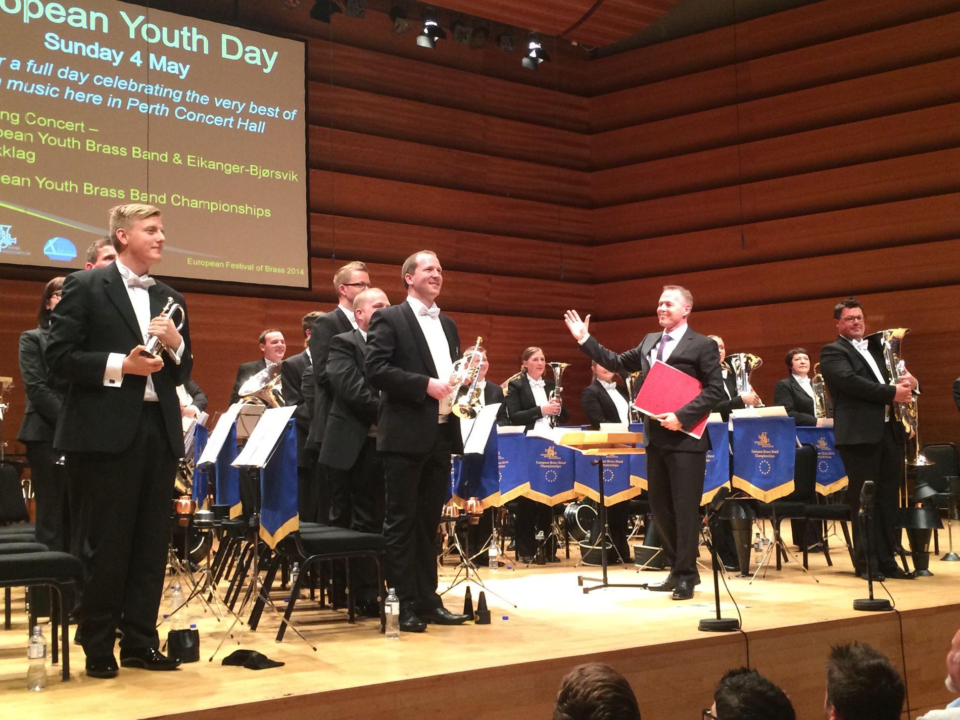 NUMMER TO: Brassbandet Eikanger-Bjørsvik Musikklag leverte en god prestasjon i EM i brass lørdag. Det holdt til andreplass.