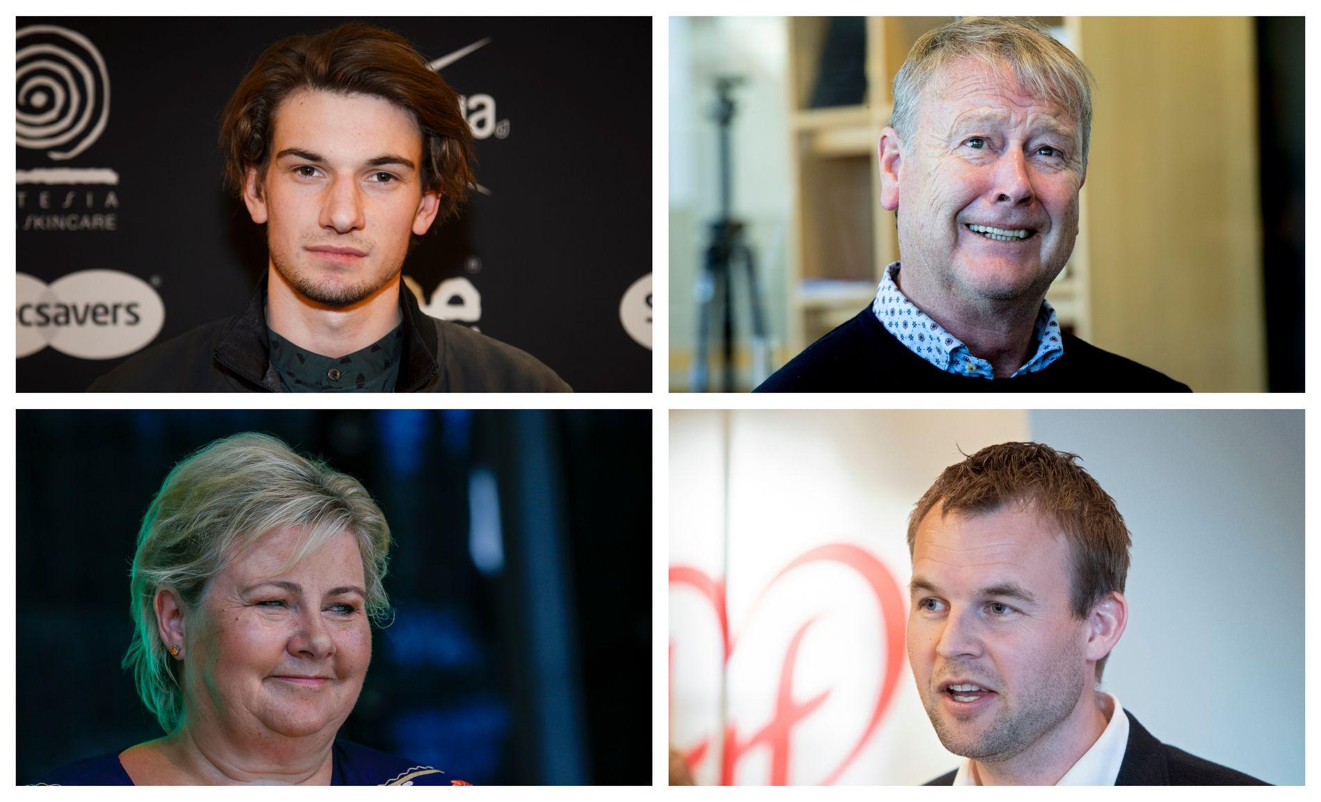 Thomas Hayes, Åge Hareide, Erna Solberg og Kjell Ingolf Ropstad blir å se på Ekebergsletta onsdag.