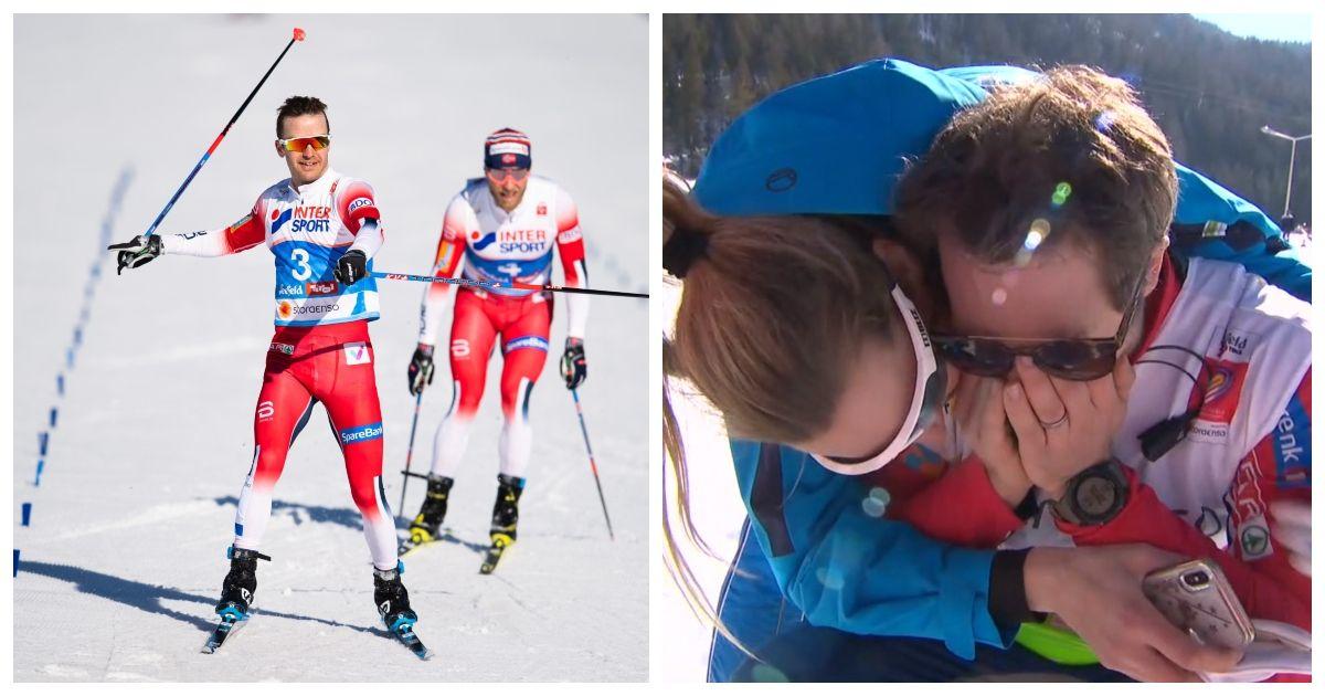 Sjur Røthe var først over mållinjen. Til høyre en svært emosjonell Eirik Myhr Nossum i intervju med NRK.