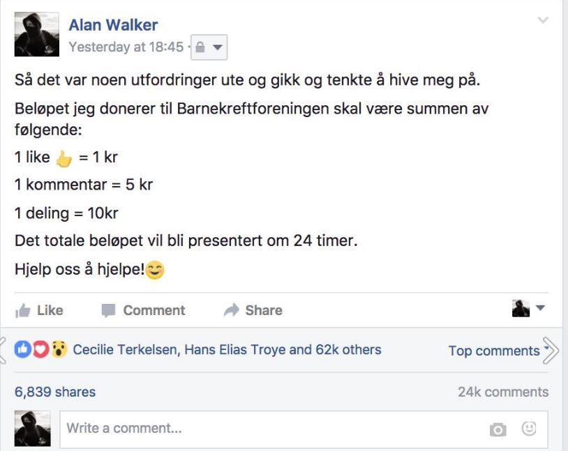POPULÆR POST: Bergensartistens post har gått viralt det siste døgnet.