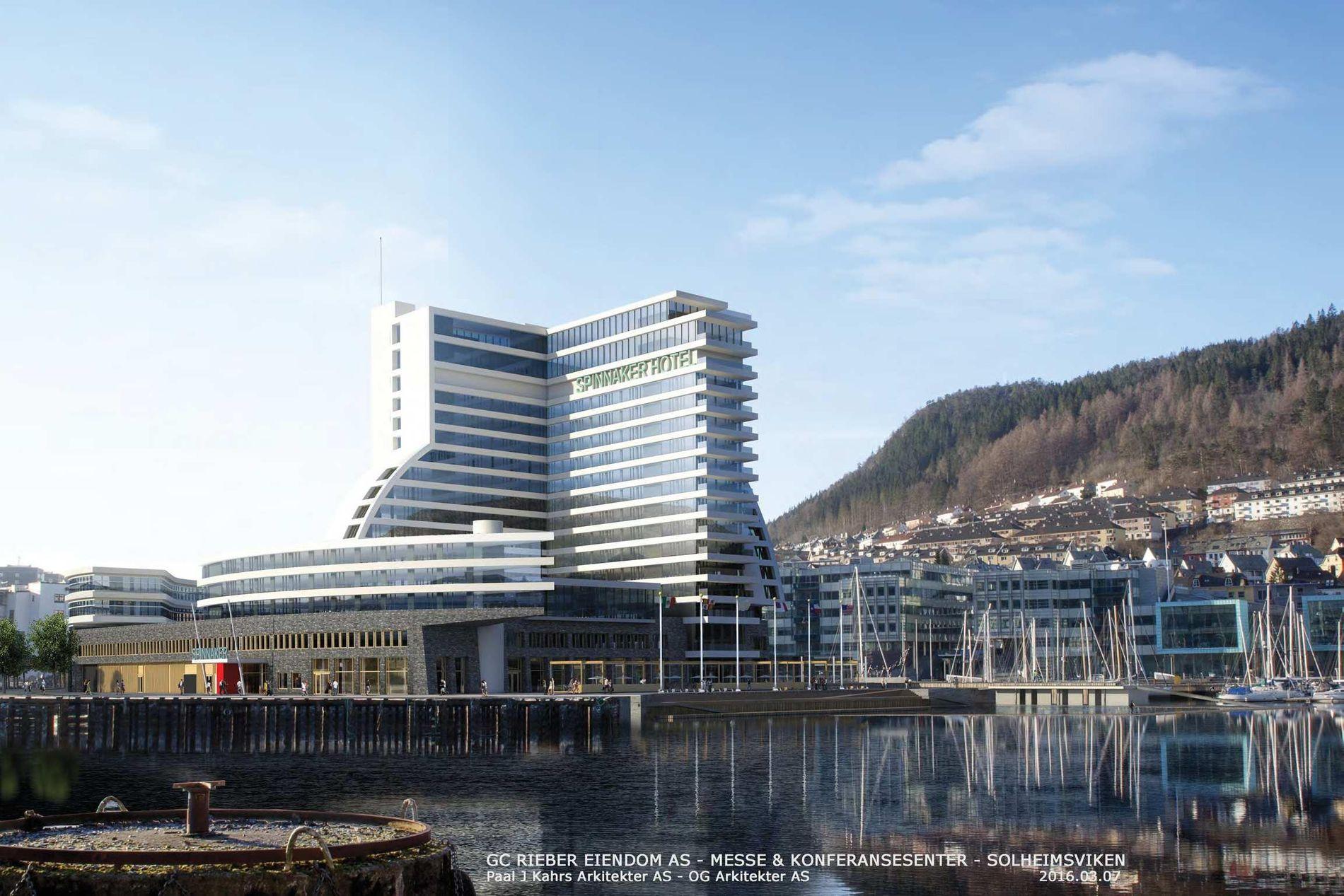 SPINNAKER HOTEL: Dette er konferansesenteret og -hotellet GC Rieber Eiendom ønsker å bygge innerst i Solheimsviken. ILLUSTRASJON: Paal J Kahrs Arkitekter og OG Arkitekter