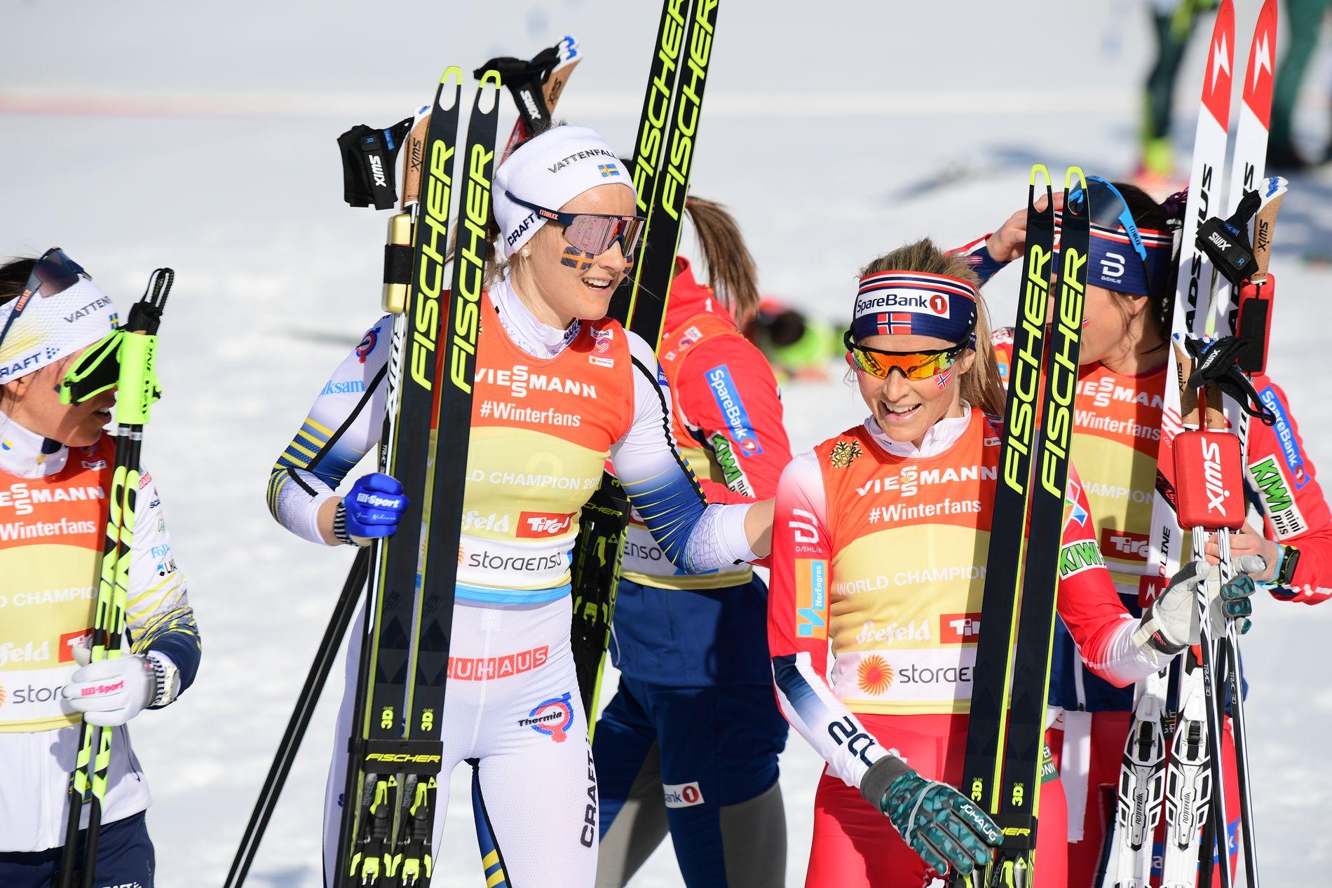 Norge og Johaug ble slått av svenskene på stafetten torsdag.