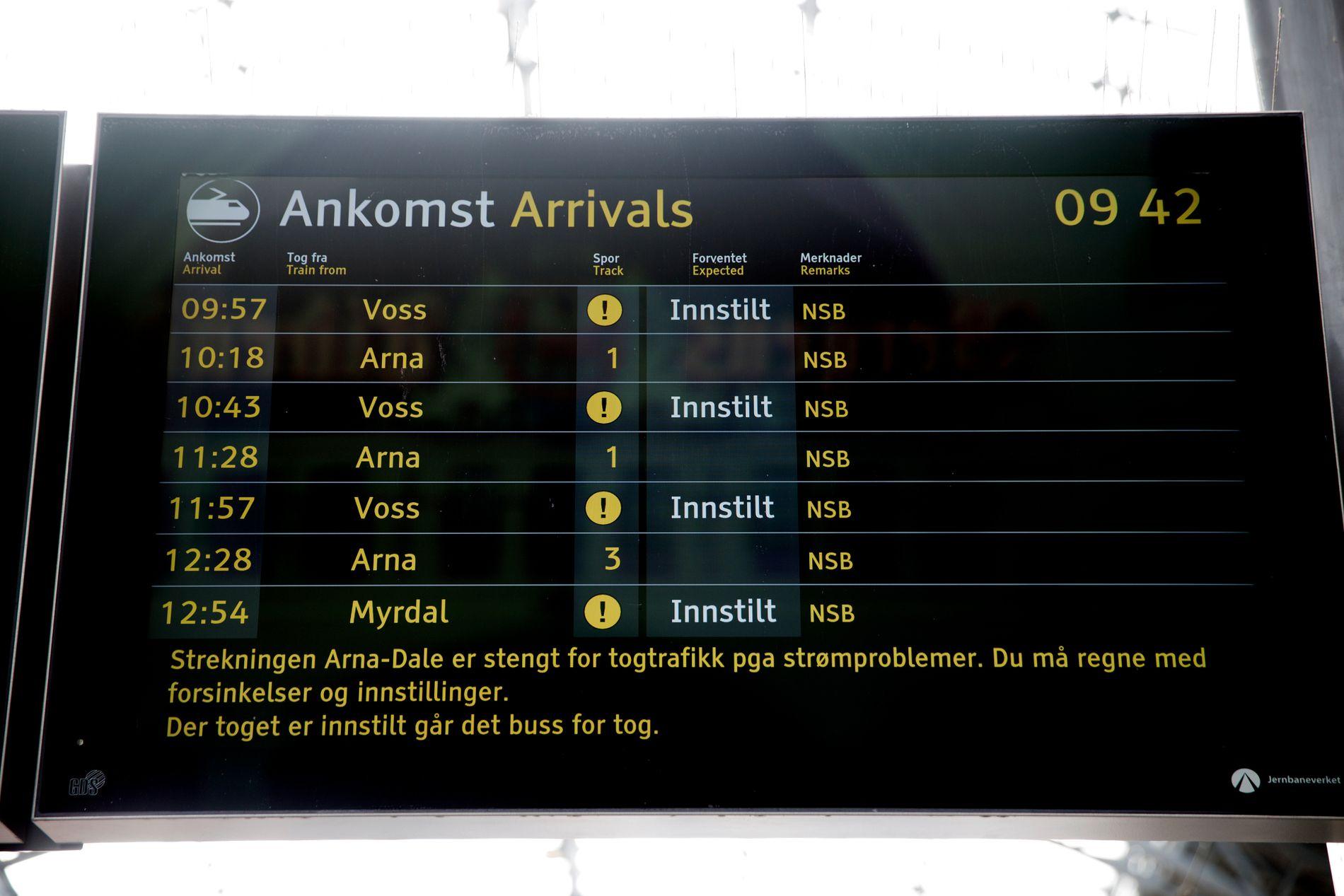 INNSTILT: Dette synet møtte mange turister på togstasjonen i Bergen onsdag morgen.