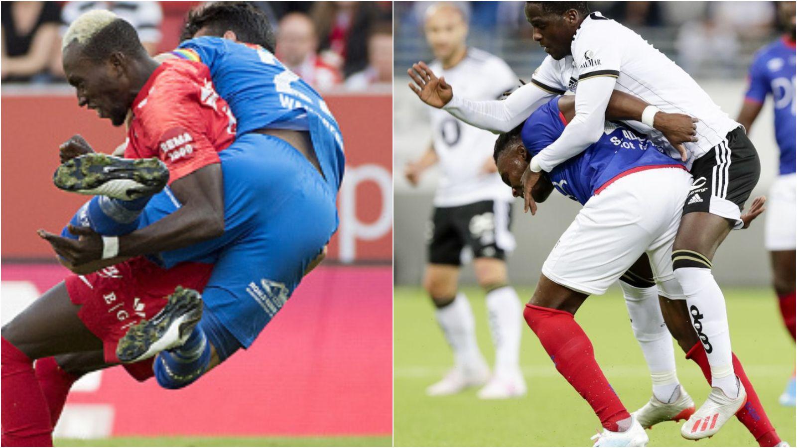 ALBUESLAG: Norges Fotballforbund setter Brann-spissen Daouda Bamba og Rosenborgs David Akintola på tribunen de neste kampene.