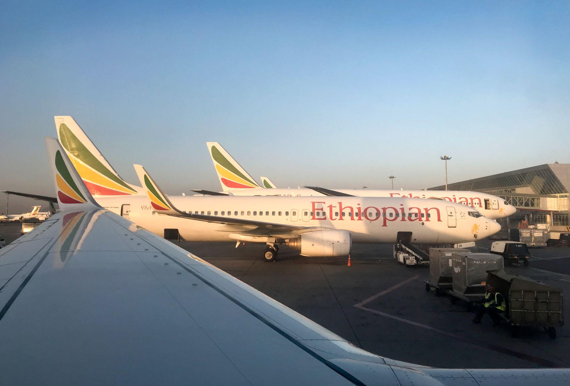 PARKERT: Ethiopian Airlines har parkert alle fly av typen MAX 8 etter flystyrten søndag.