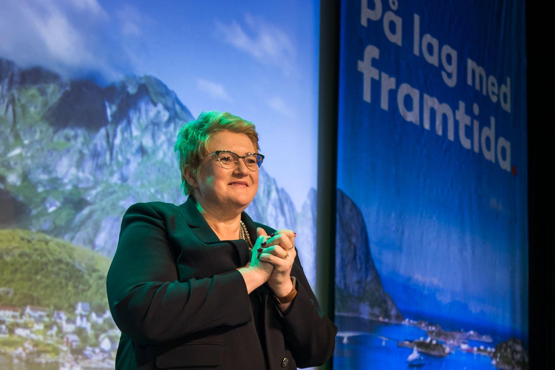 ILLUSJON: Eit bilete frå Reine i Lofoten pynta opp landsmøtesalen til Venstre. Men hotellet låg ved Gardermoen. Det speglar godt eit parti som blir stadig meir urbant, skriv BT-kommentator Hans K. Mjelva.