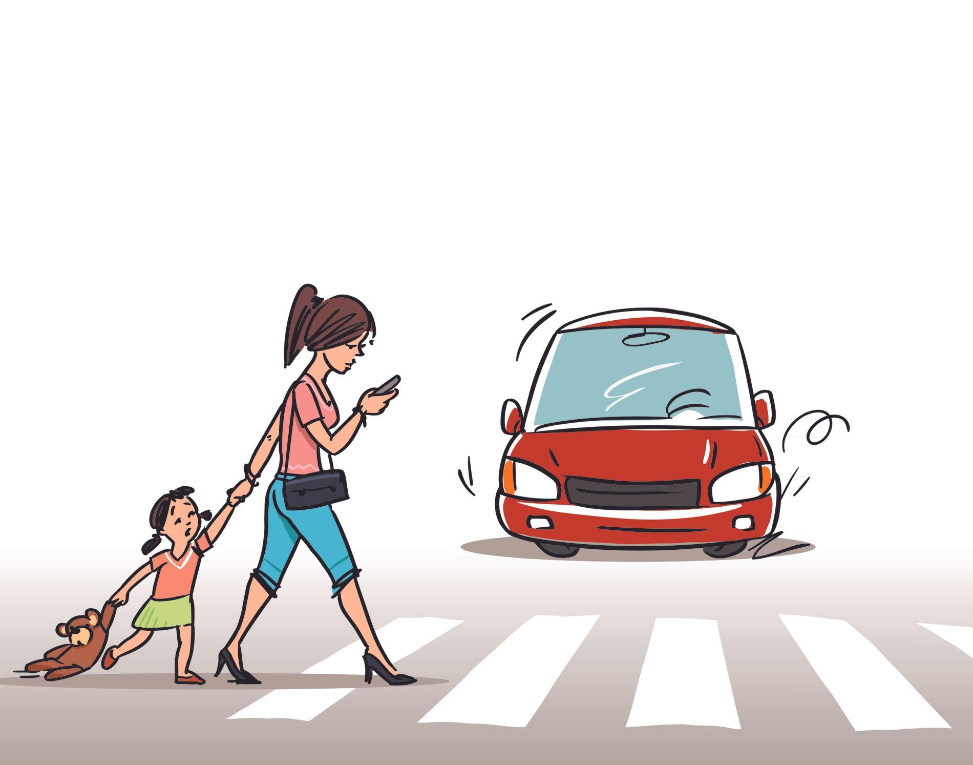FARLIG: Det er straffbart å bruke mobil og liknende når man kjører, og det spørs om det samme bør gjelde for gående, skriver innsenderen. ILLUSTRASJON: SHUTTERSTOCK/NTB SCANPIX