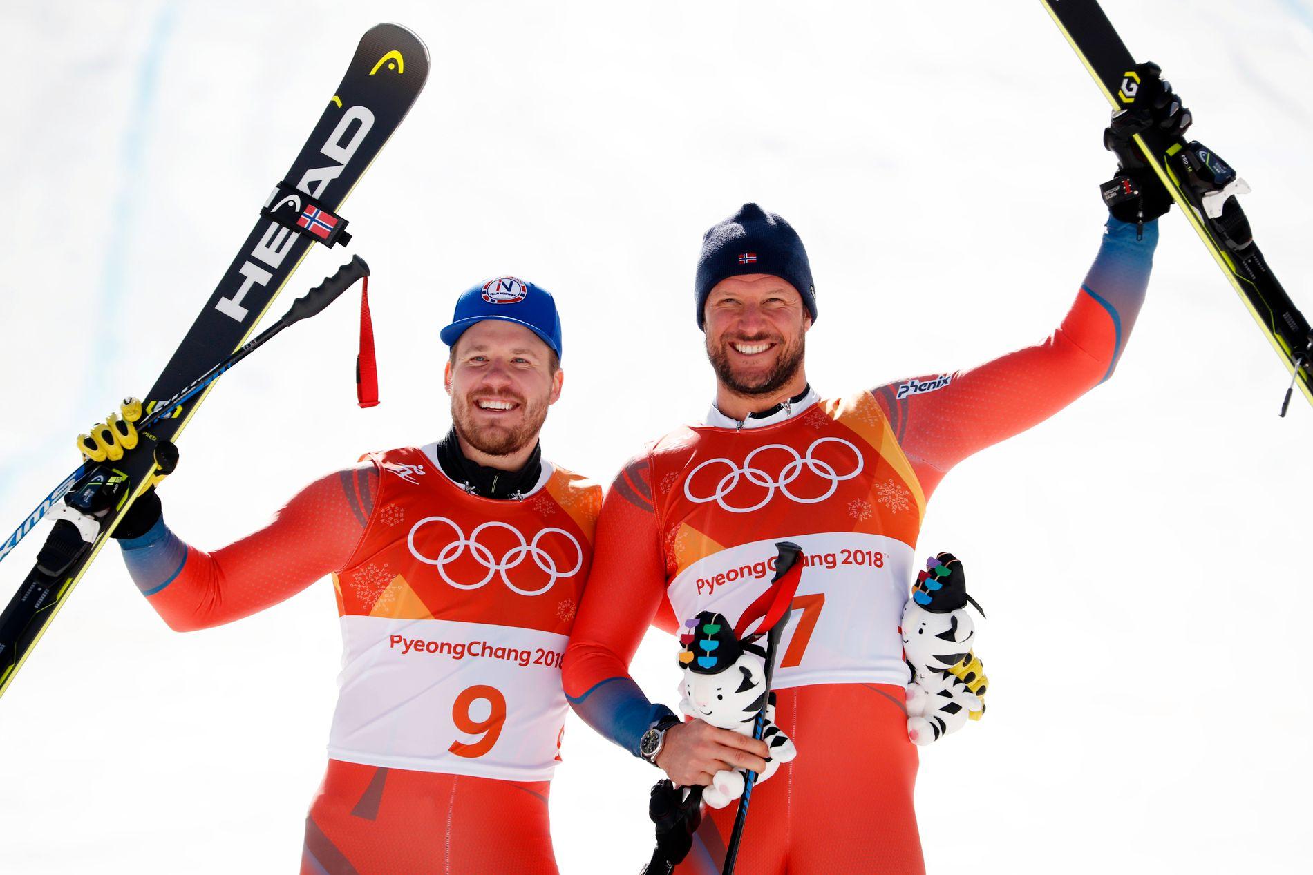 TRIVELEGE KARAR: Kjetil Jansrud og Aksel Lund Svindal fekk sølv og gull i utfor i Pyeongchang.