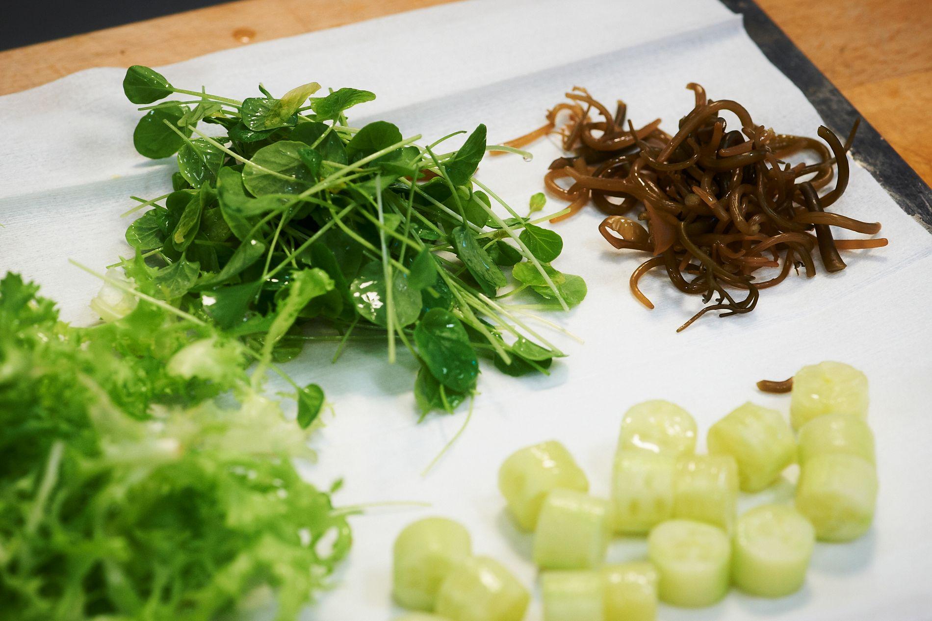 LAV STATUS: Det er på tide å kaste blikket på tang og tare, kråkeboller og andre godsaker som har lav status hos nordmenn flest, skriver innsender. Her ser vi syltet tang (bak til h. )sammen med salat og vårløk.