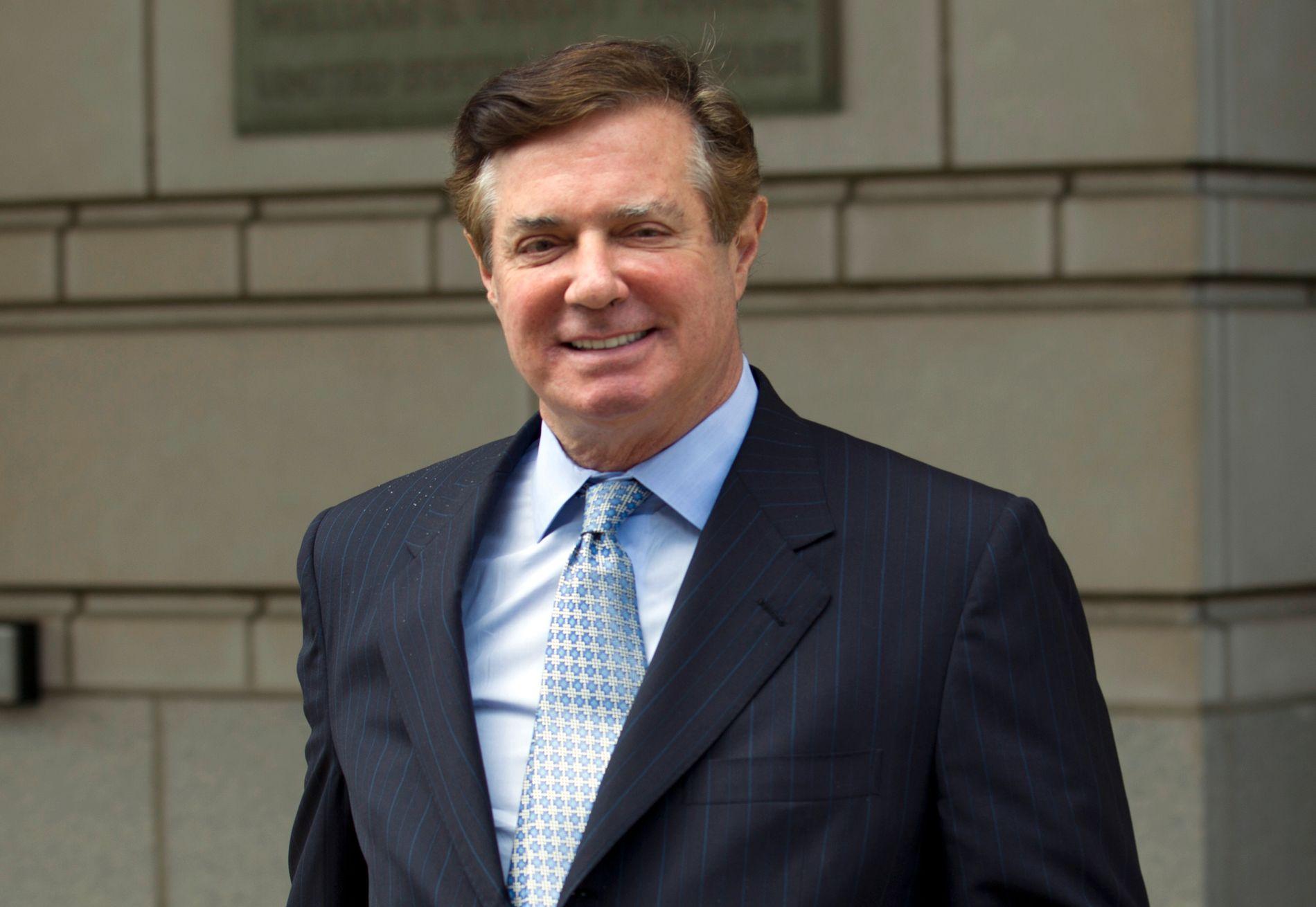 EKS-VALGKAMPSJEF: Paul Manafort forlater den føderale domstolen i Washington DC etter et rettsmøte i mai.