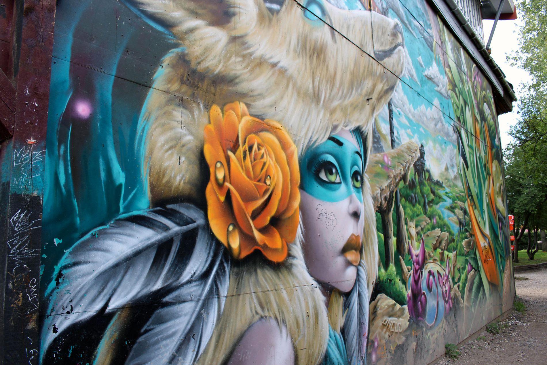 FARGERIKT: Graffiti og tagging pryder veggene i store deler av området.