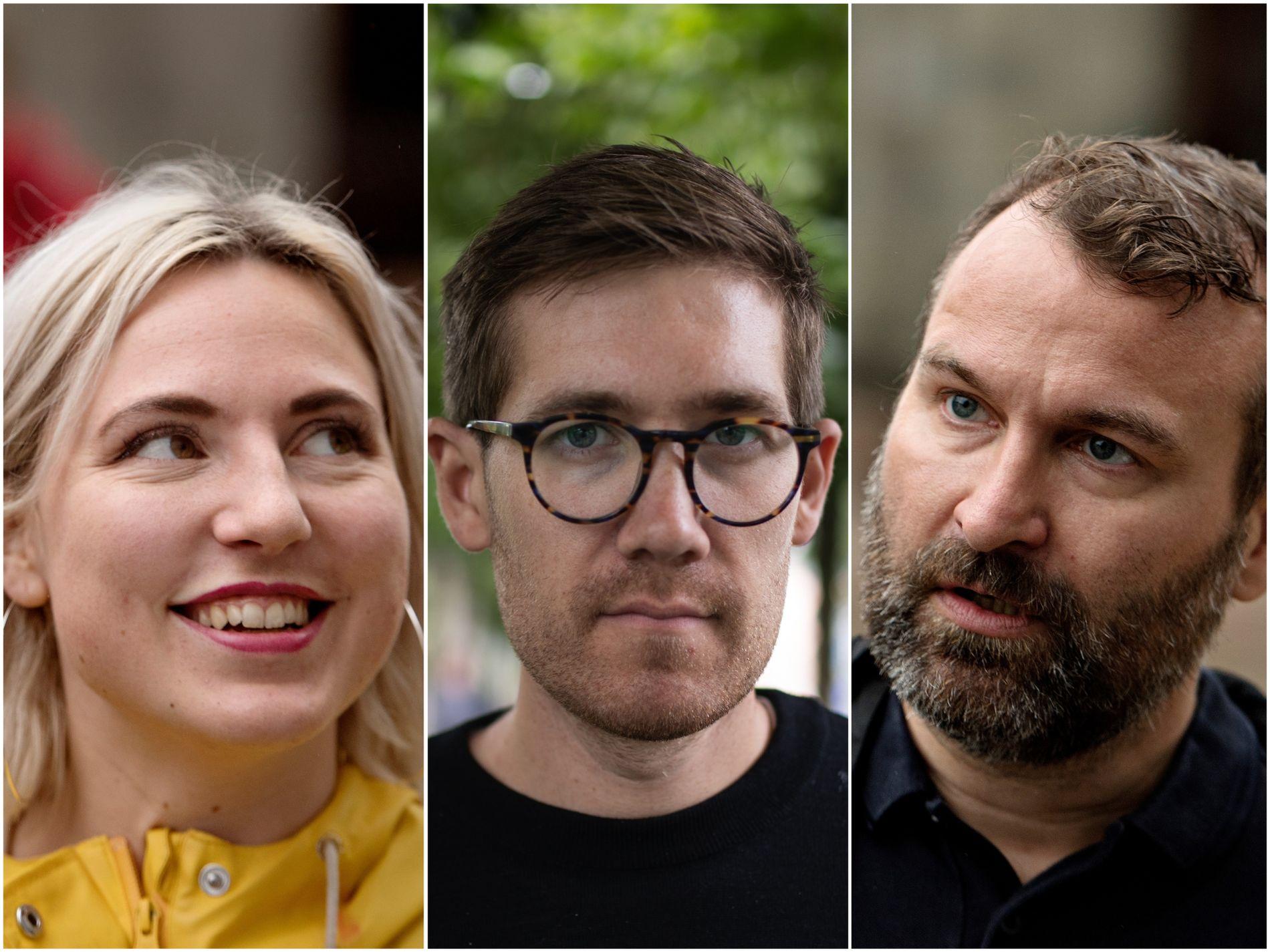 AKSJON: Sofie Marhaug (Rødt), Thor Haakon Bakke (MDG) og Mikkel Grüner (SV) markerer at de tar avstand fra en av eierne til forsamlingslokalet Forum.