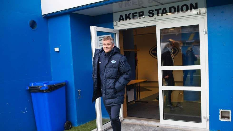 Ole Gunnar Solskjær på Aker stadion onsdag.