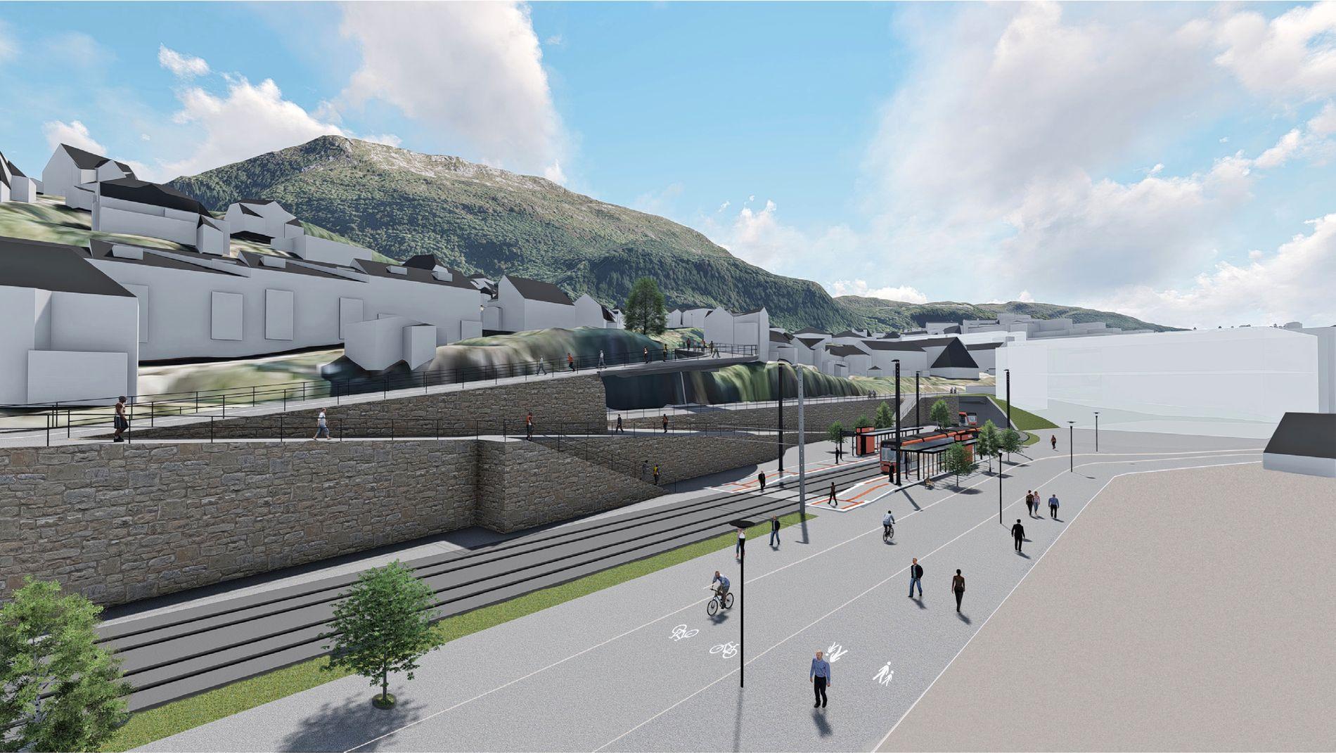 FÅR PENGER: Slik skal Fløen bybaneholdeplass se ut. Bybanen til Fyllingsdalen får 300 millioner statlige kroner på statsbudsjettet for 2018.