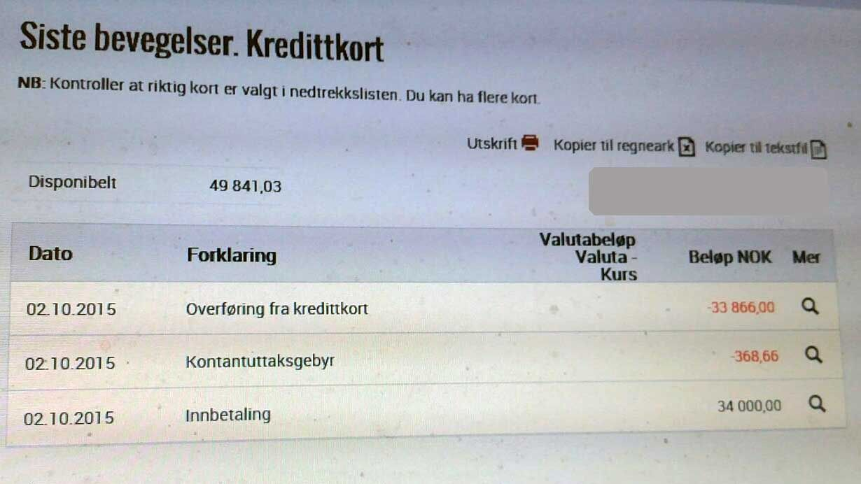 DYR OVERFØRING: Å overføre penger fra eget kredittkort, ble dyrt for Tormod Valaker. Selv om han hadde betalt inn til kredittkortet i forveien.